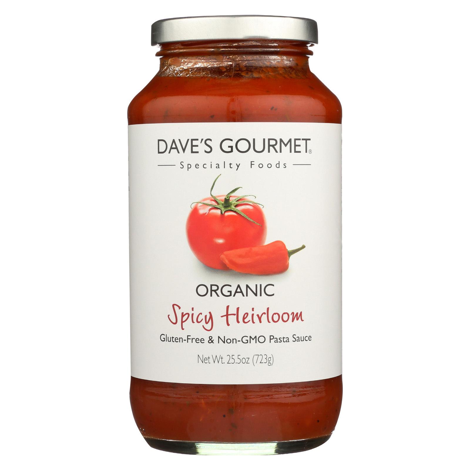 Dave's Gourmet Organic Pasta Sauce - Spicy Red - Case of 6 - 25.5 fl oz