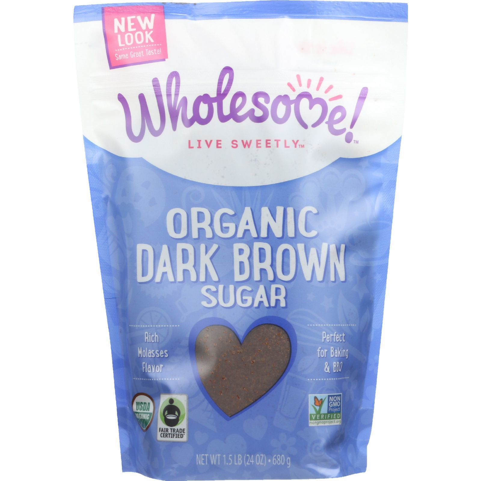Wholesome Sweeteners Sugar - Organic - Dark Brown - 24 oz - case of 6
