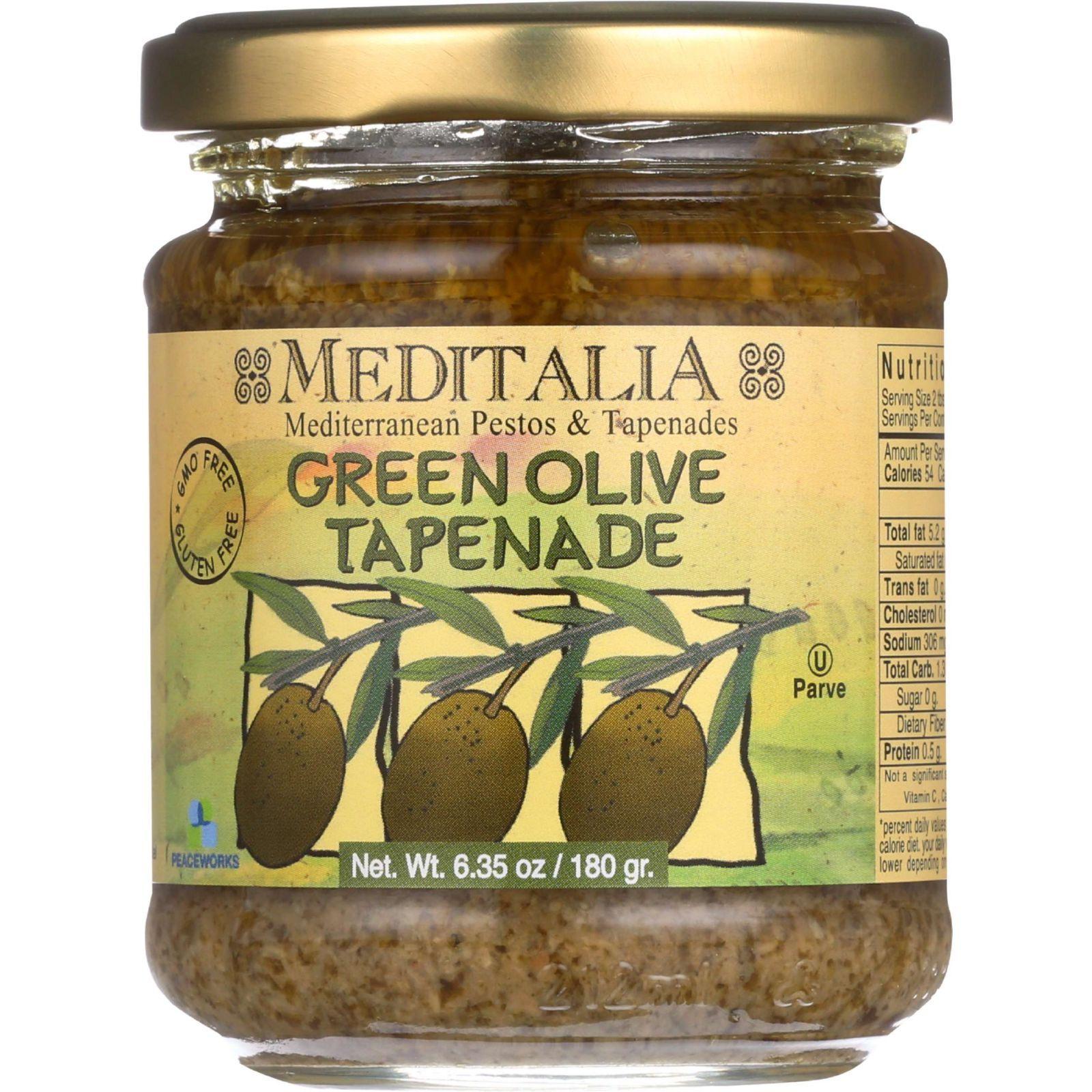 Meditalia Tapenade Spread - Green Olive - Case of 6 - 6.35 oz