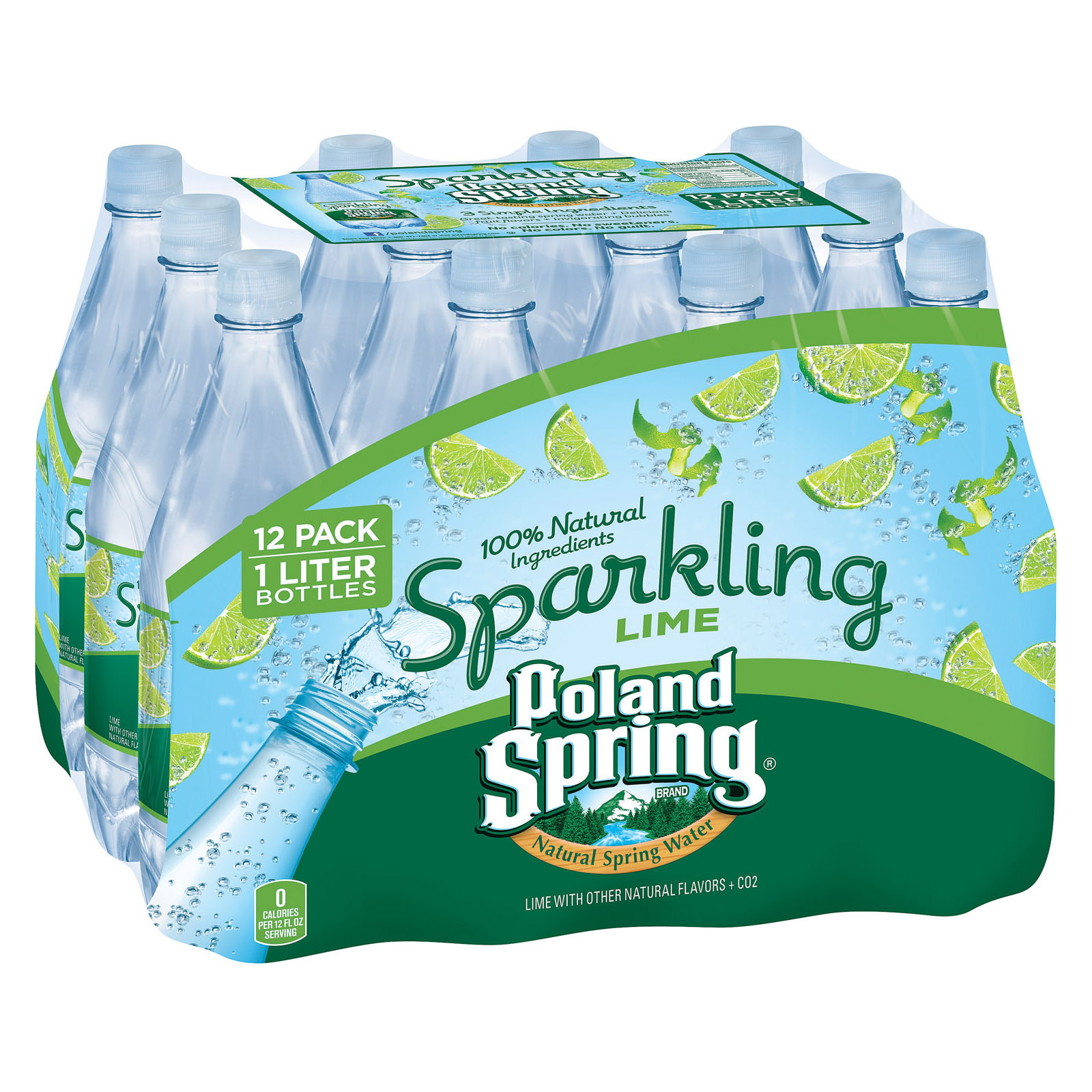 Poland Spring Sparkling Water - Lime - Case of 12 - 33.8 Fl oz.