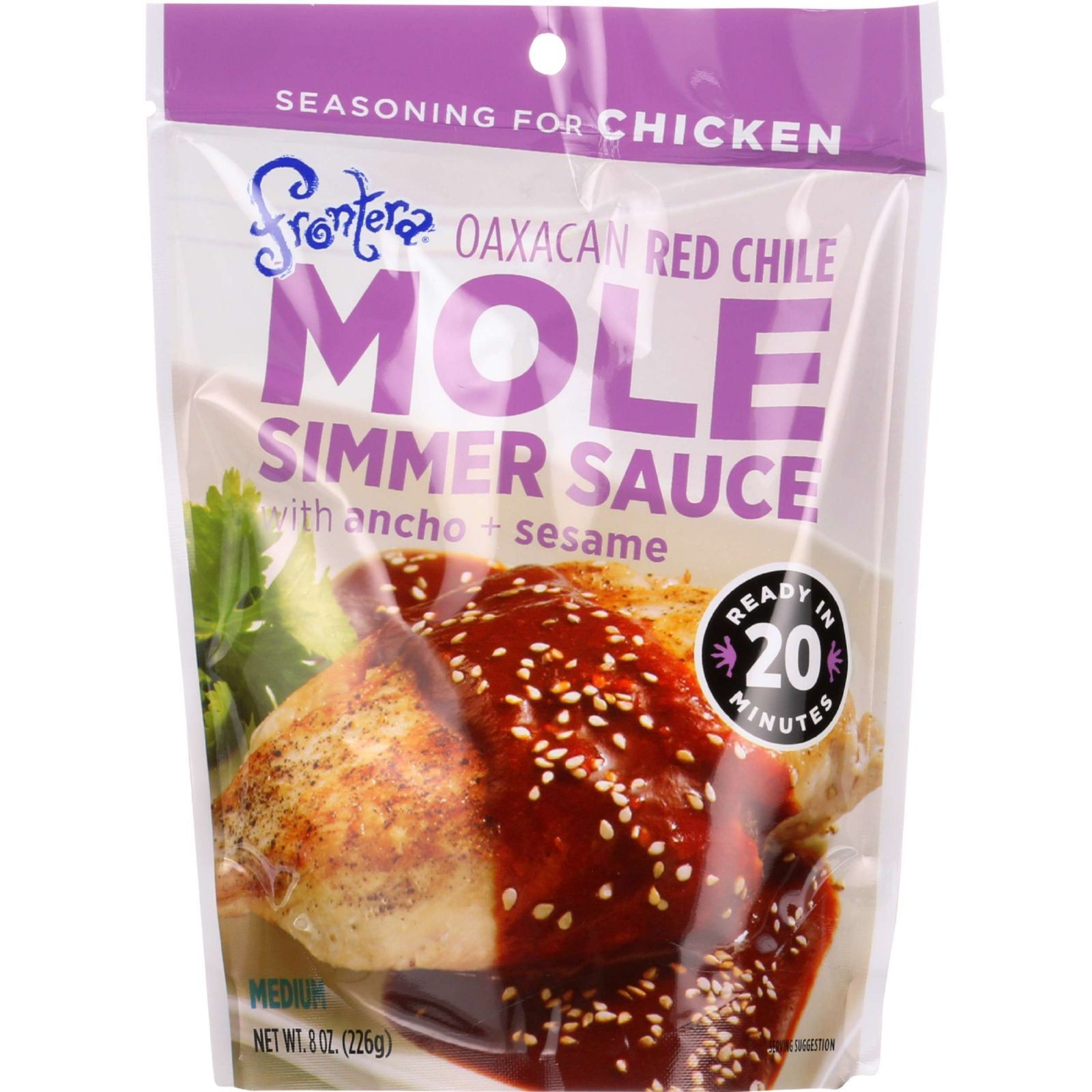 Frontera Foods Simmer Sauce - Oaxacan Red Chile Mole - with Ancho and Sesame - 8 oz - case of 6