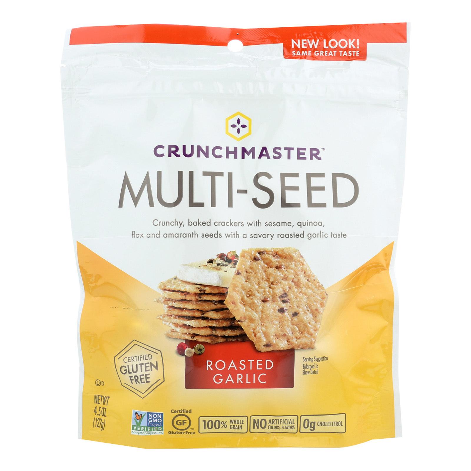 Crunchmaster Multi-Seed Crackers - Roasted Garlic - Case of 12 - 4.5 oz.