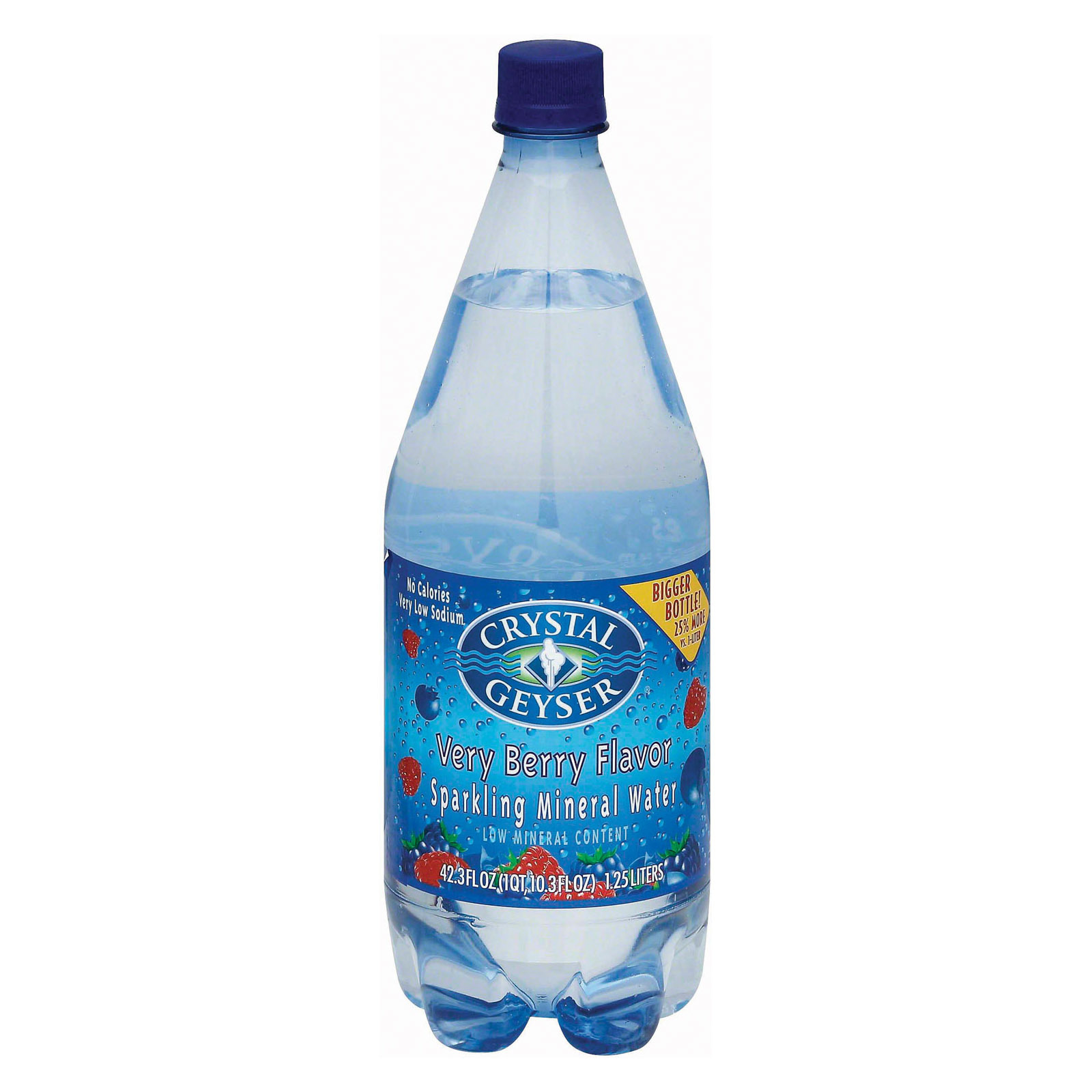 Crystal Geyser Sparkling Mineral Water - Very Berry - Case of 12 - 1.25 Liter