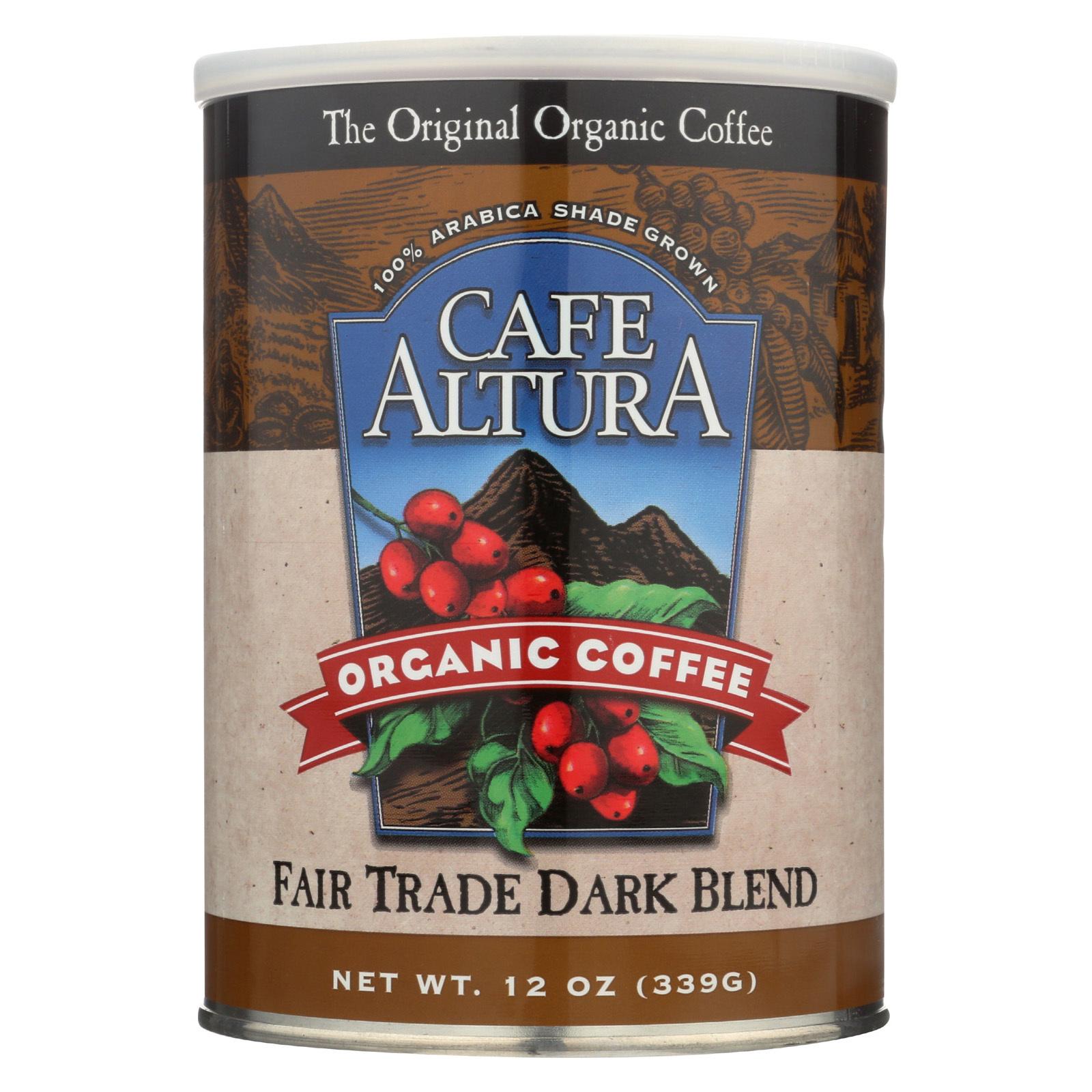 Cafe Altura 100% Organic Fair Trade Dark Blend Coffee - Case of 6 - 12 oz
