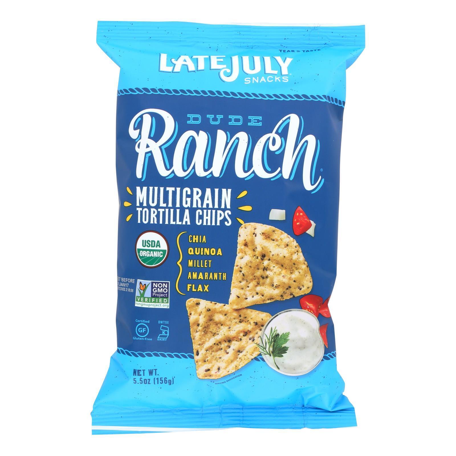 Late July Snacks Organic Multigrain Snack Chips - Dude Ranch - Case of 12 - 5.5 oz.