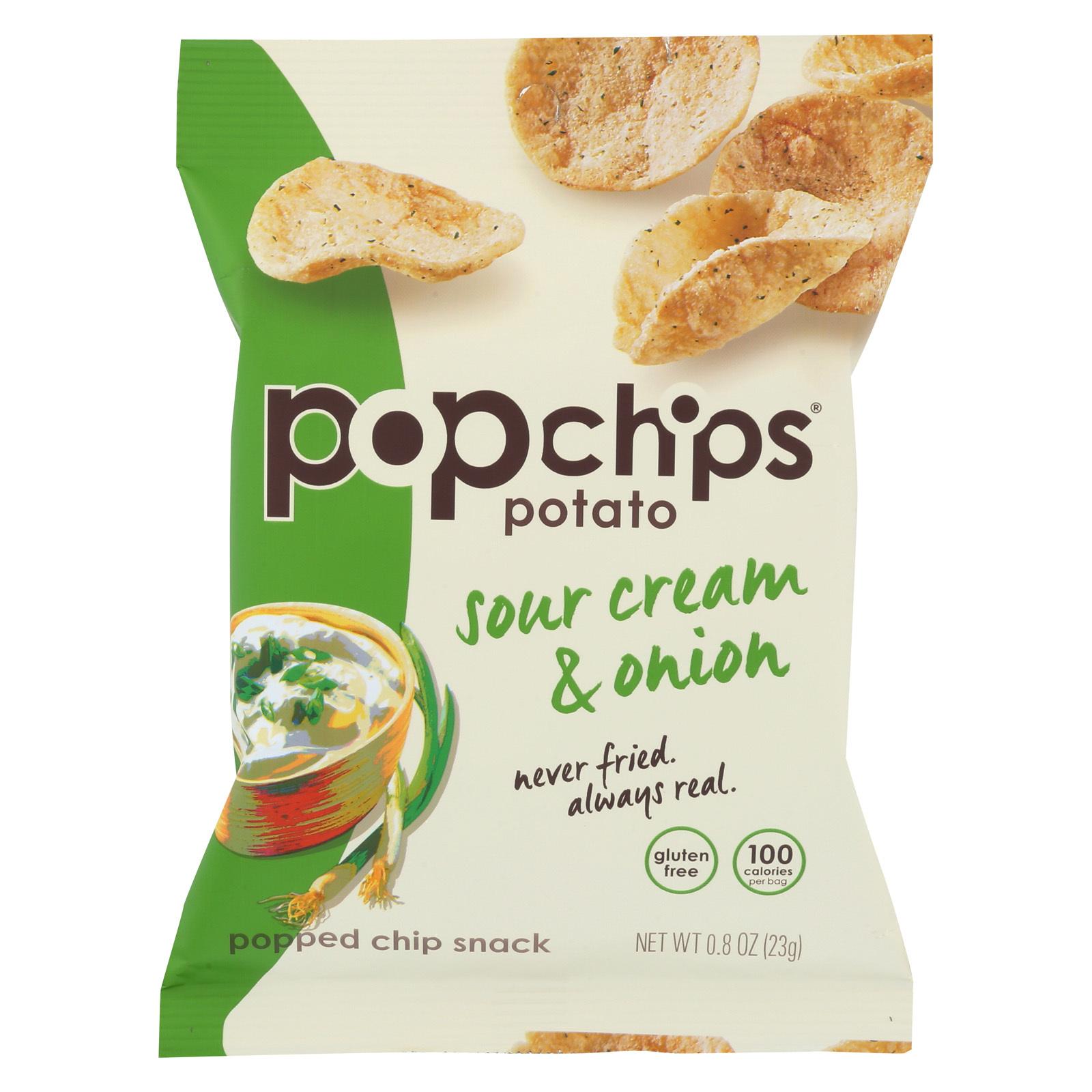 Popchips Potato Chip - Sour Cream and Onion - Case of 24 - 0.8 oz.