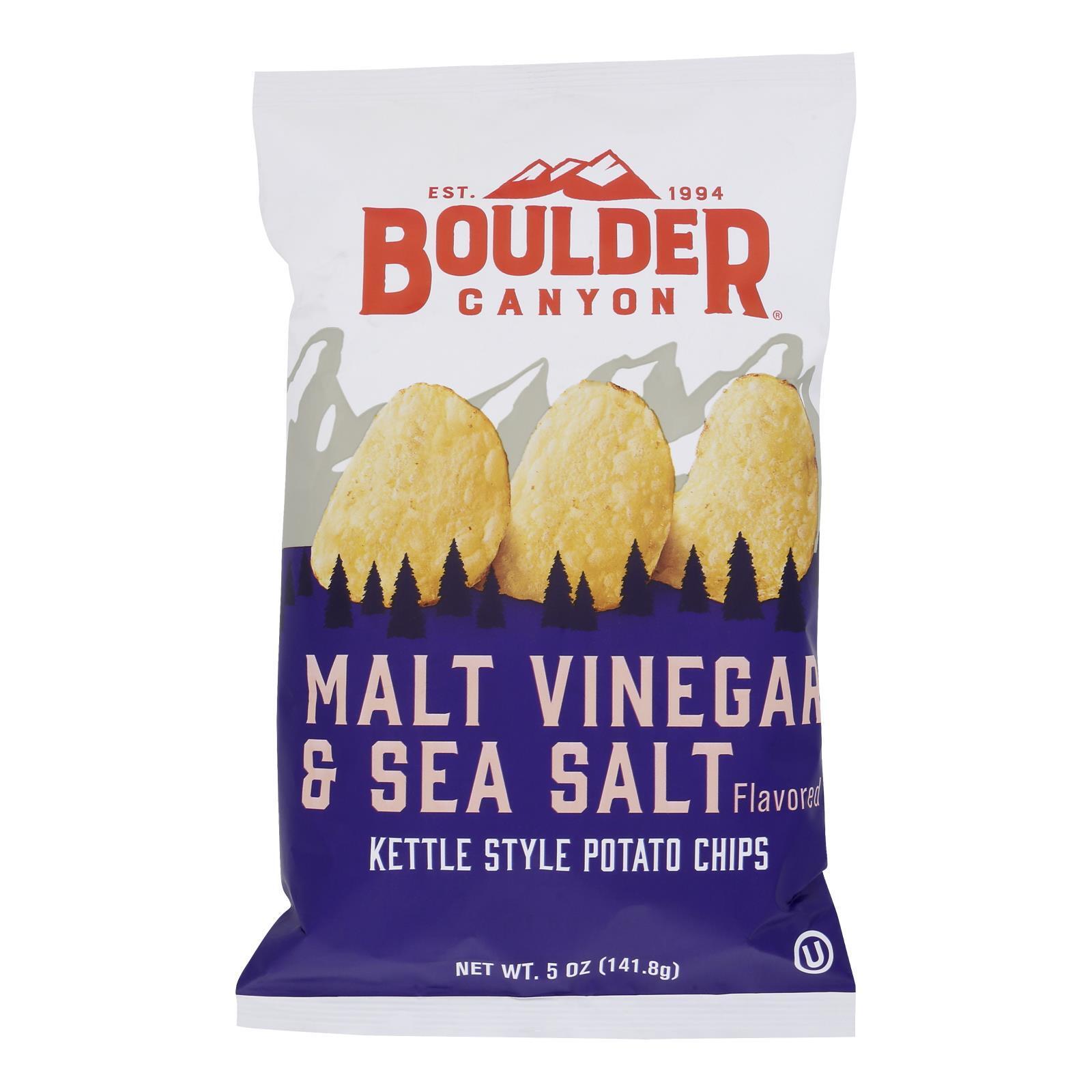 Boulder Canyon Natural Foods Kettle Chips - Malt Vinegar and Sea Salt - Case of 12 - 5 oz.