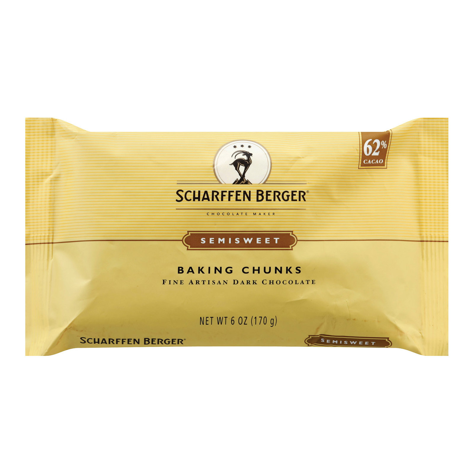 Scharffen Berger Semisweet 62 Percent Cacao Fine Artisan Dark Chocolate Baking Chunks - Case of 10 - 6 oz.