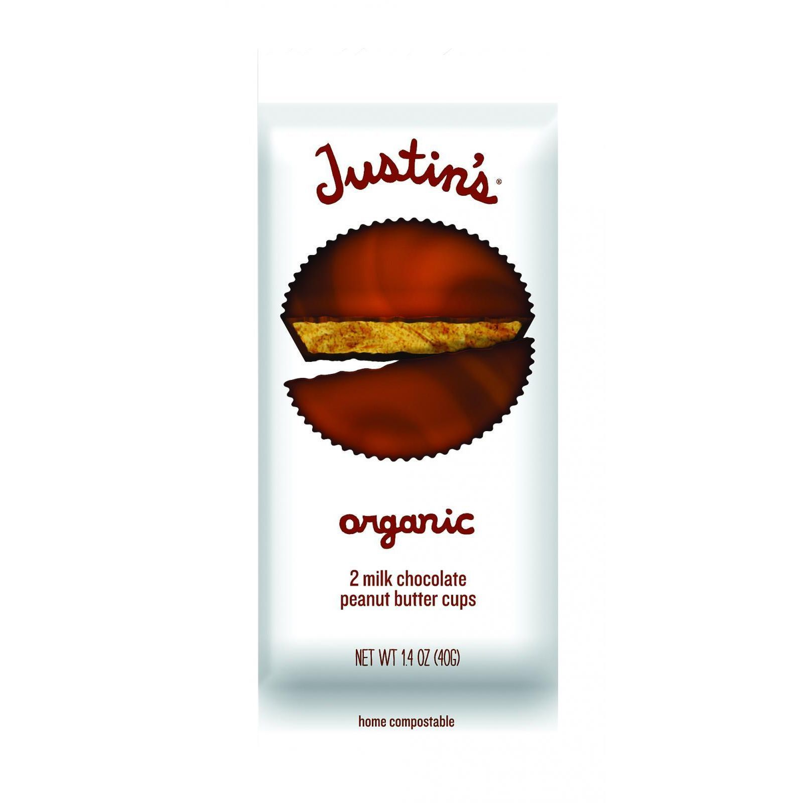 Justin's Nut Butter Organic Peanut Butter Cups - Milk Chocolate - Case of 12 - 1.4 oz.
