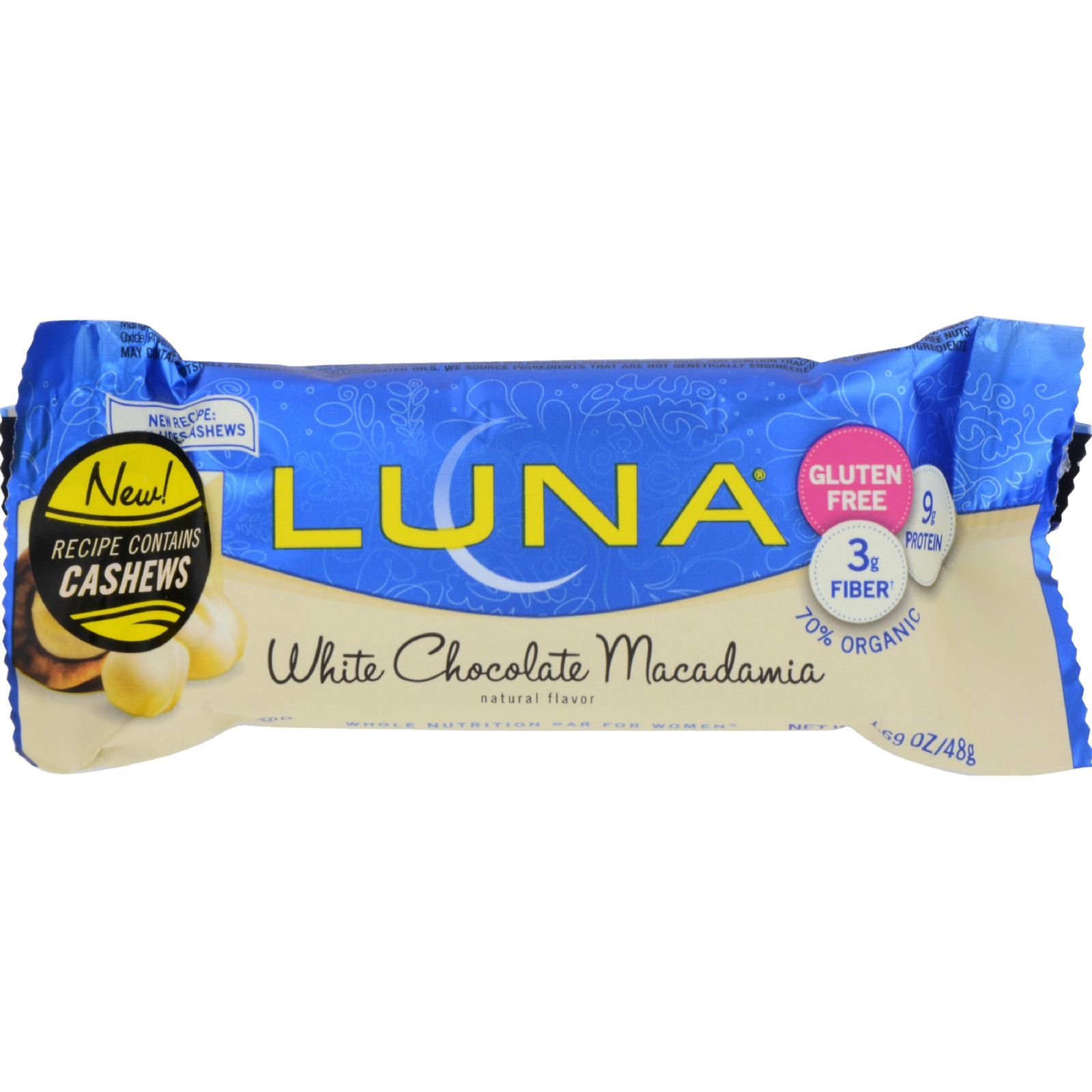 Clif Bar Luna Bar - Organic White Chocolate Macadamia Nut - Case of 15 - 1.69 oz