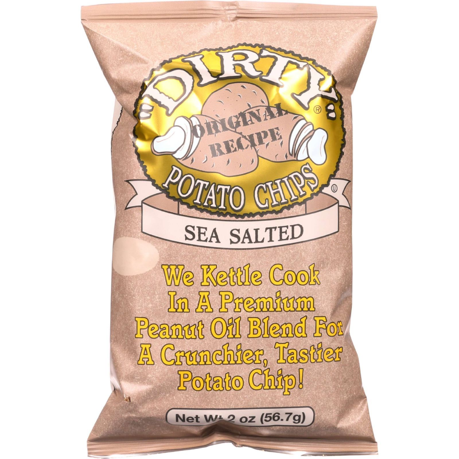Dirty Chips Potato Chips - Sea Salted - 2 oz - case of 25