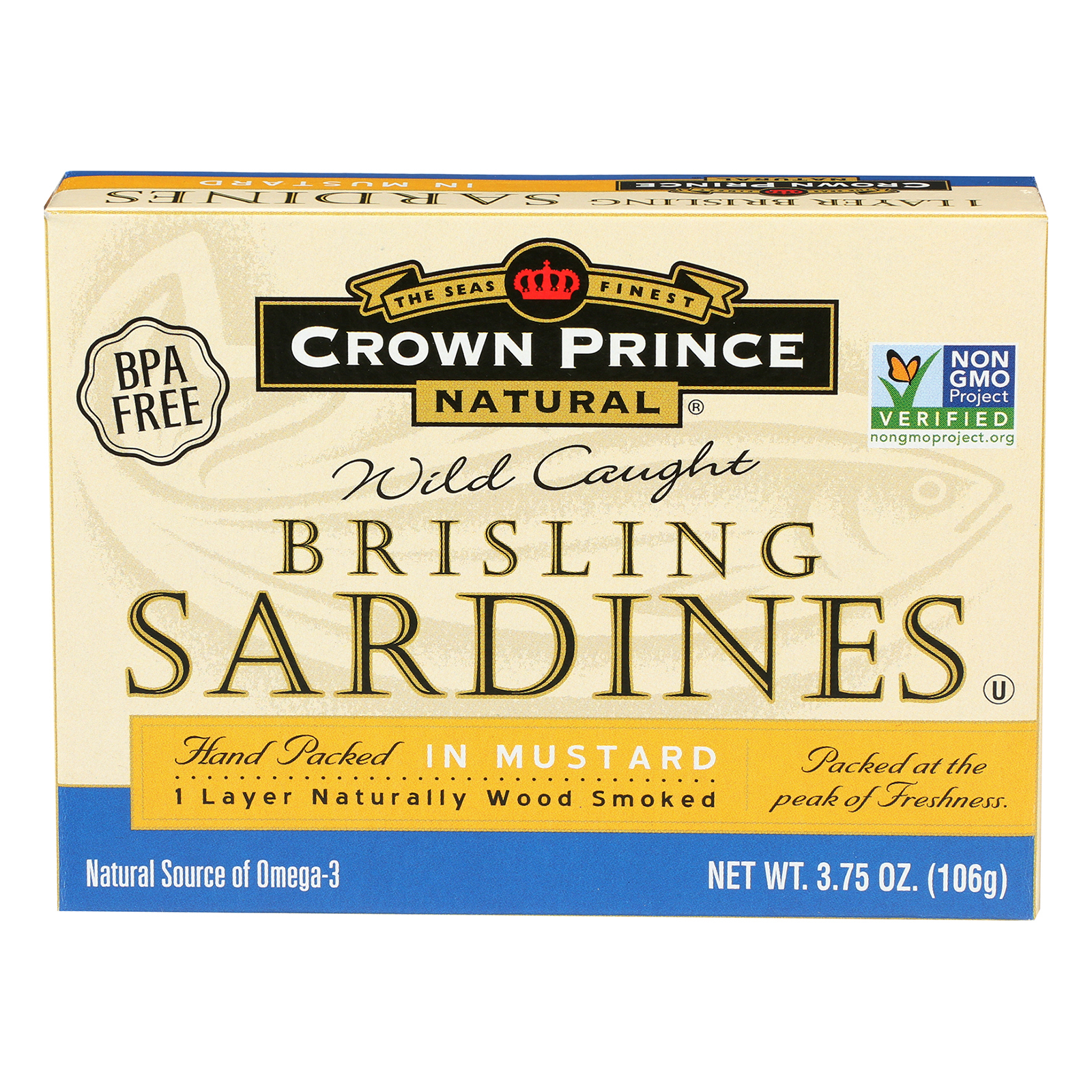 Crown Prince Brisling Sardines In Mustard - Case of 12 - 3.75 oz.