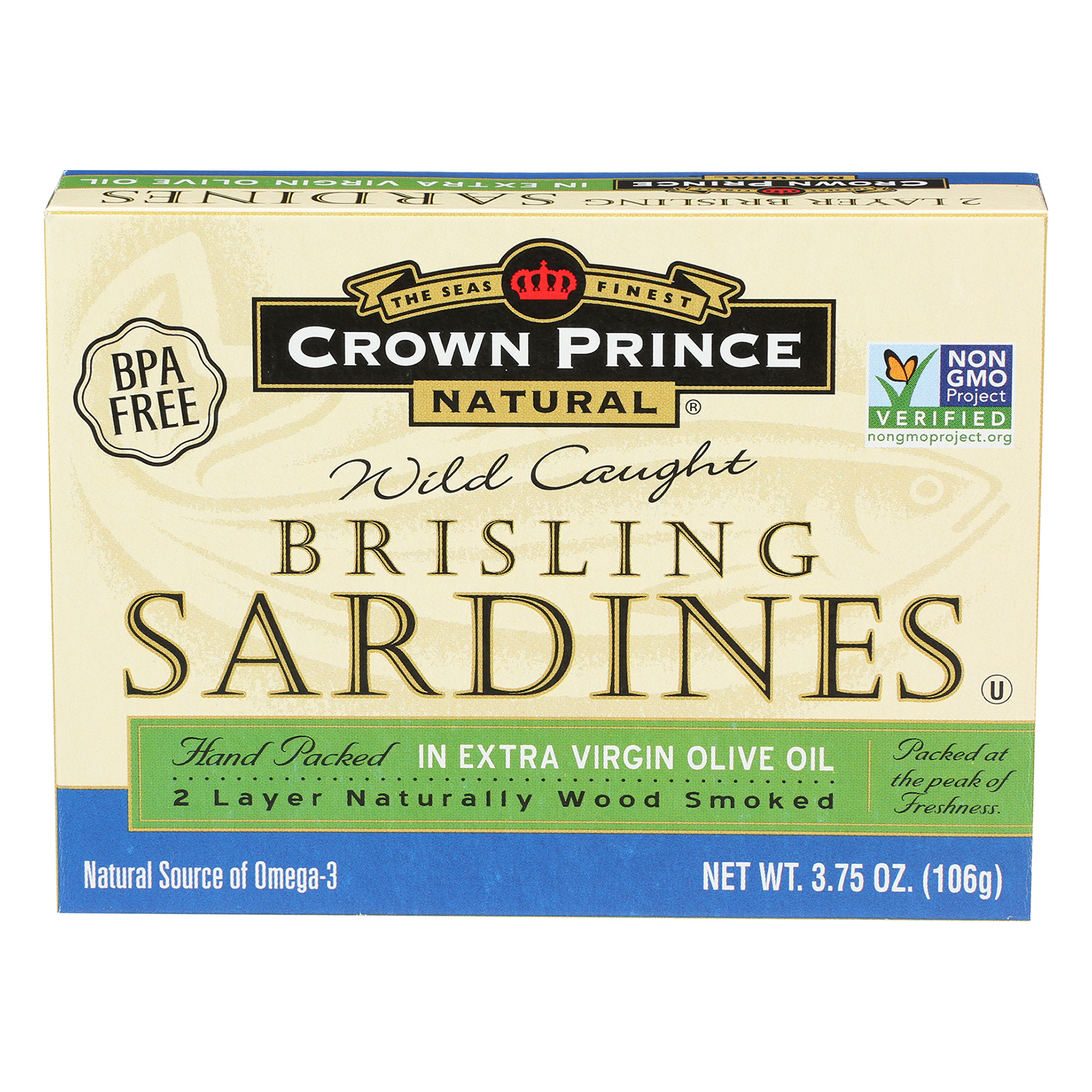 Crown Prince Brisling Sardines In Extra Virgin Olive Oil - Case of 12 - 3.75 oz.