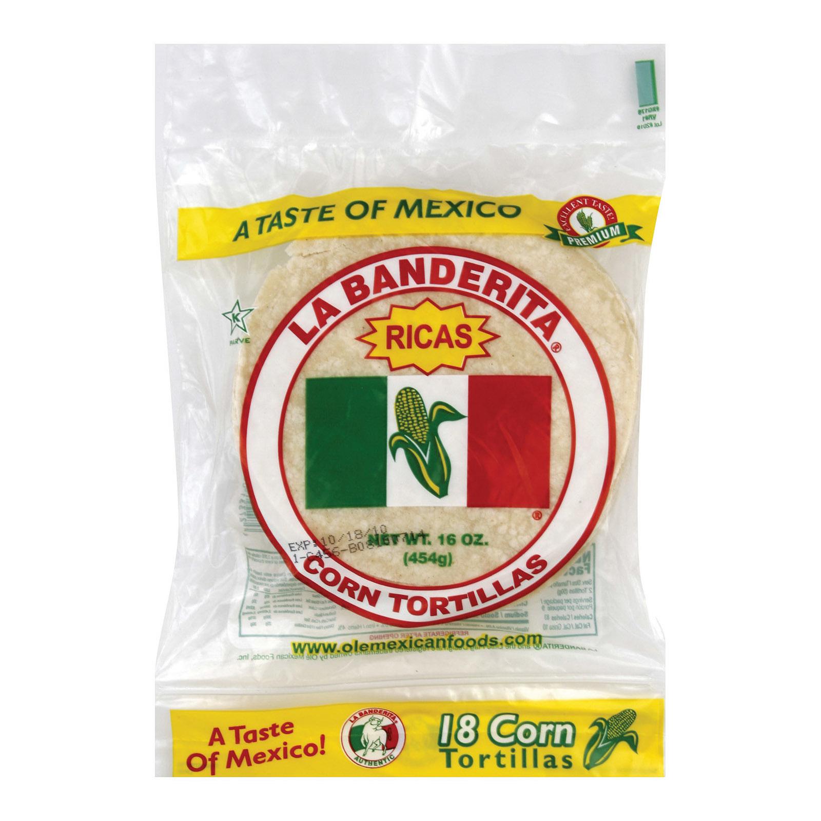 La Banderita Corn Tortillas - White - Case of 12 - 16 oz.