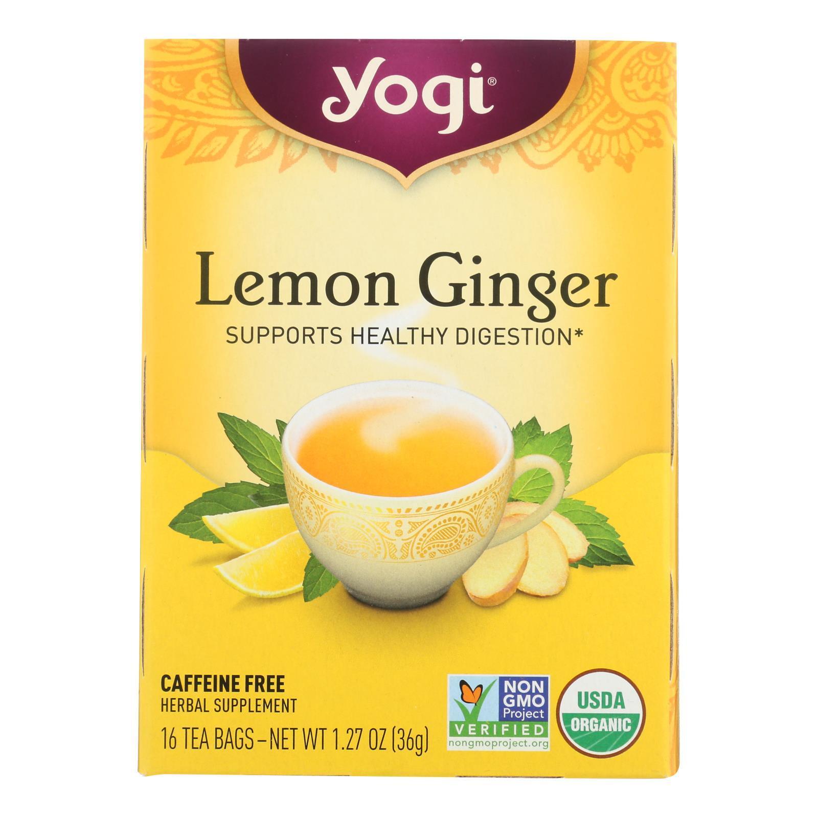 Yogi Tea Lemon Ginger - Caffeine Free - 16 Tea Bags