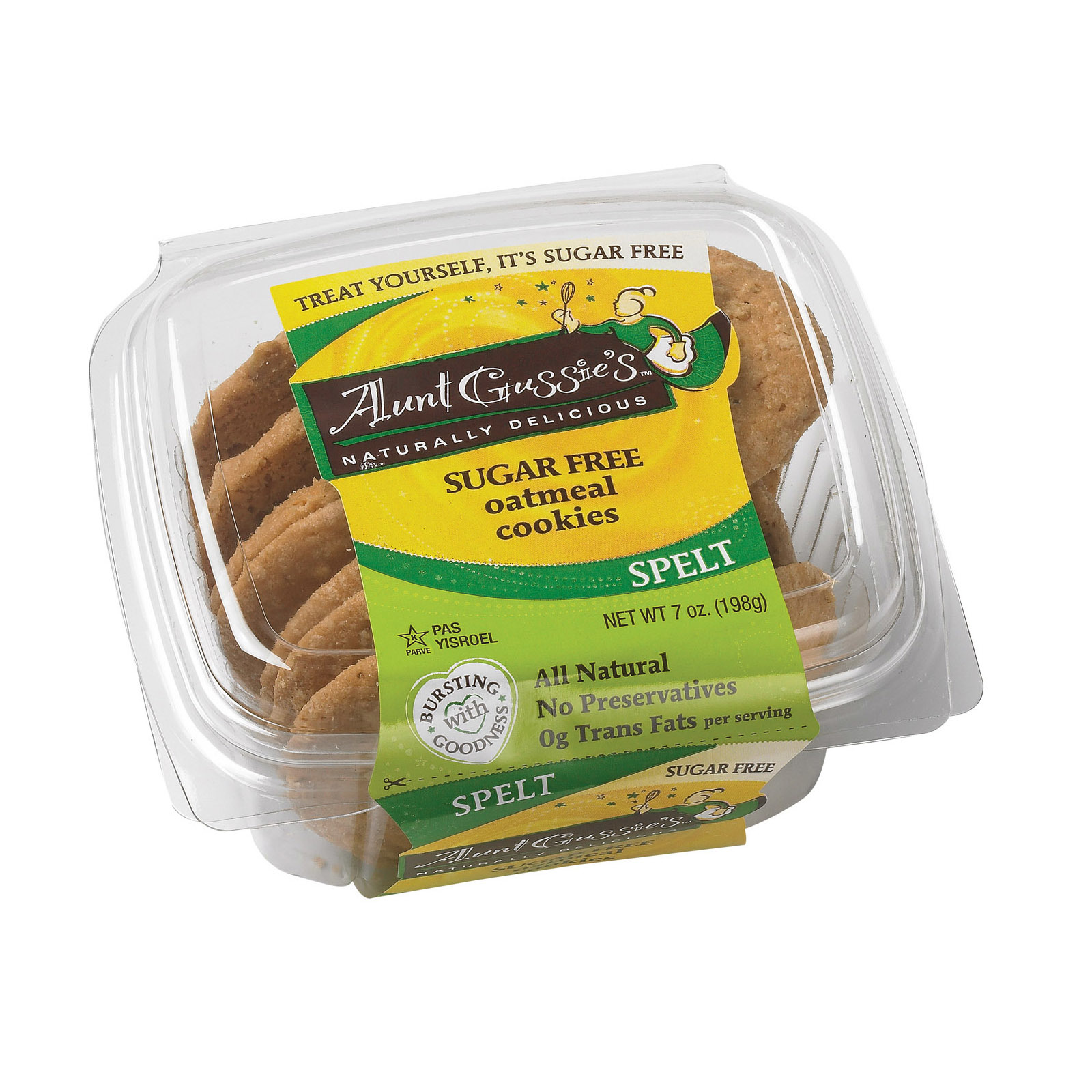 Aunt Gussie's Cookies - Sugar Free Oatmeal - Case of 8 - 7 oz.