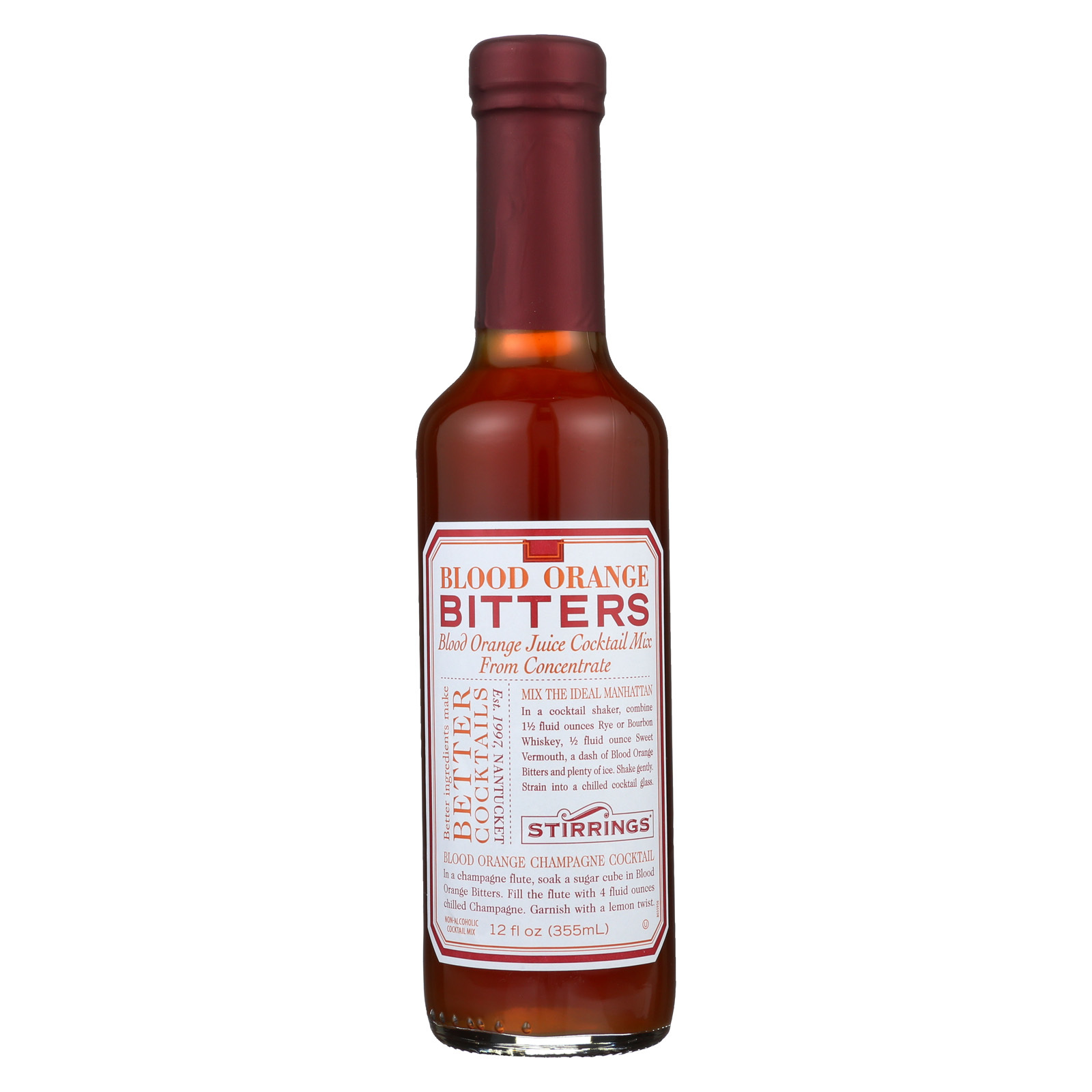 Stirrings Bar Ingredients - Blood Orange Bitters - Case of 6 - 12 Fl oz.