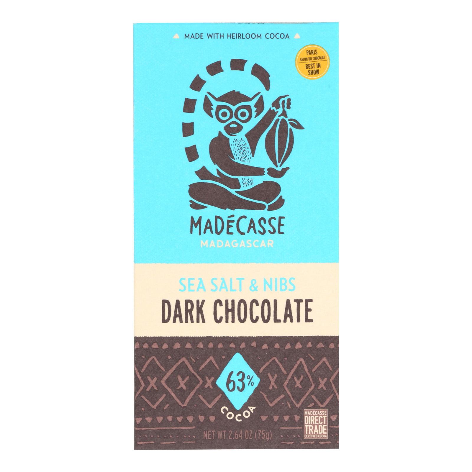 Madecasse Chocolate Bars - 63 Percent Dark Chocolate - Sea Salt and Nibs - 2.64 oz Bars - Case of 10