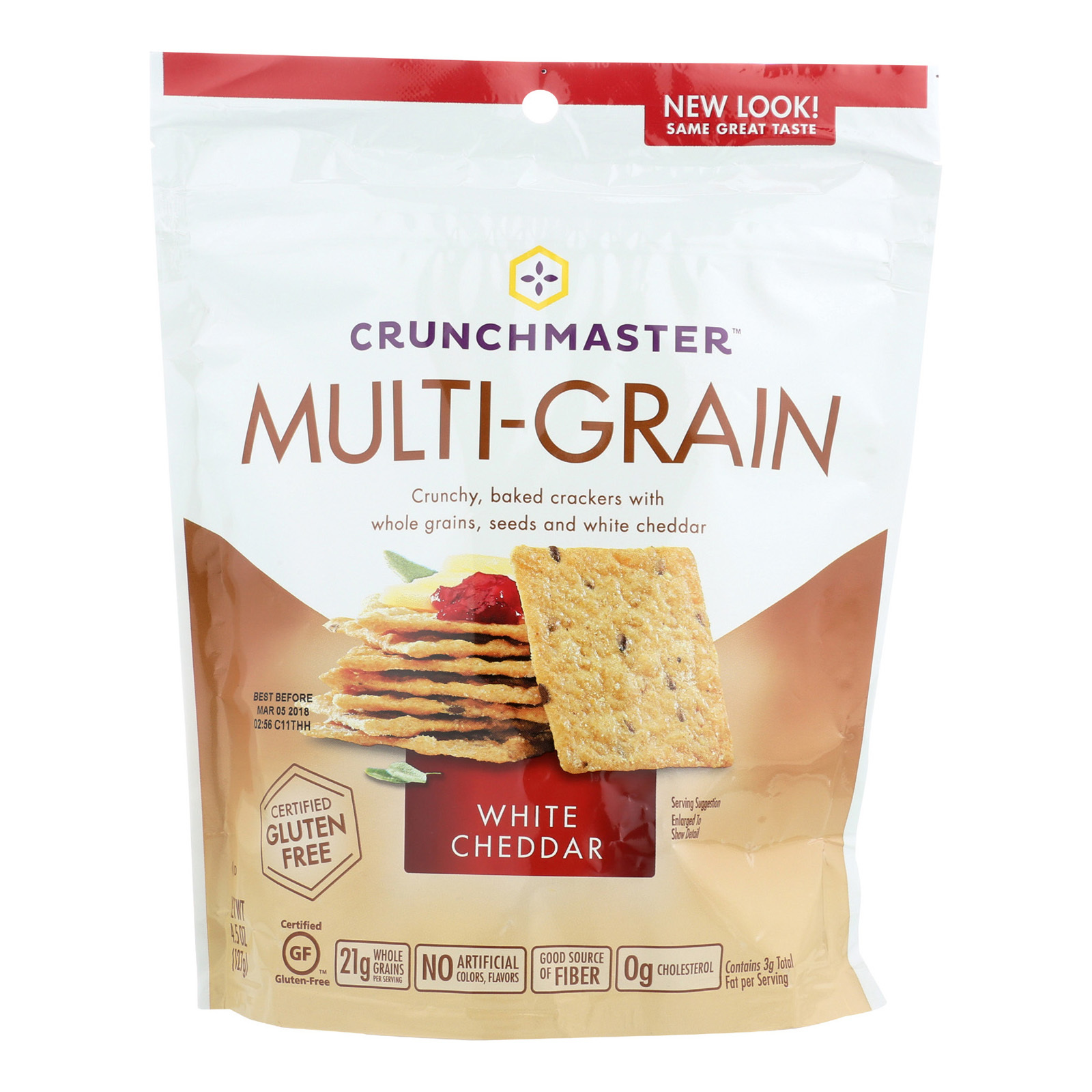 Crunchmaster Multi-Grain Crackers - White Cheddar - Case of 12 - 4.5 oz.