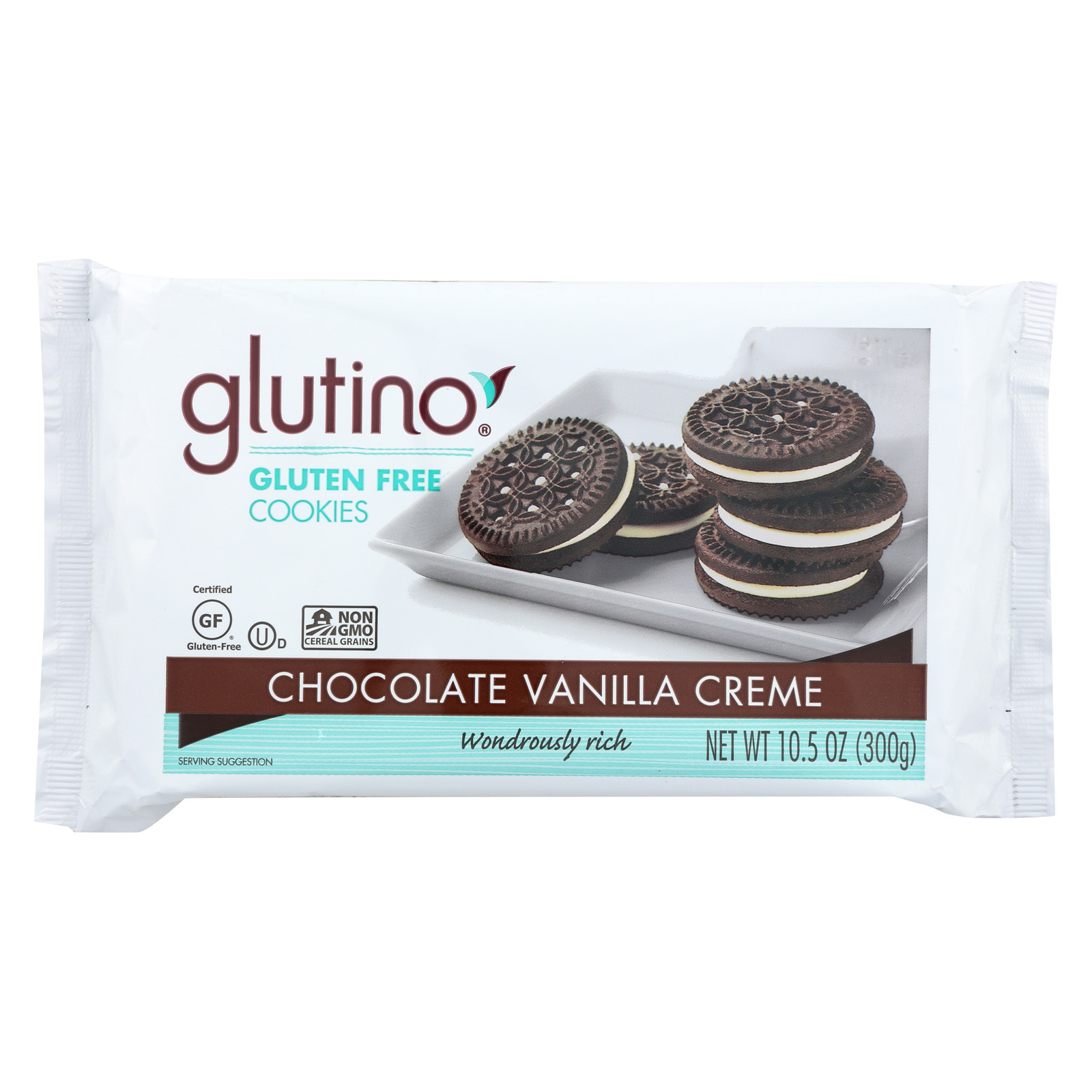 Glutino Vanilla Creme Cookies - Case of 12 - 10.5 oz.