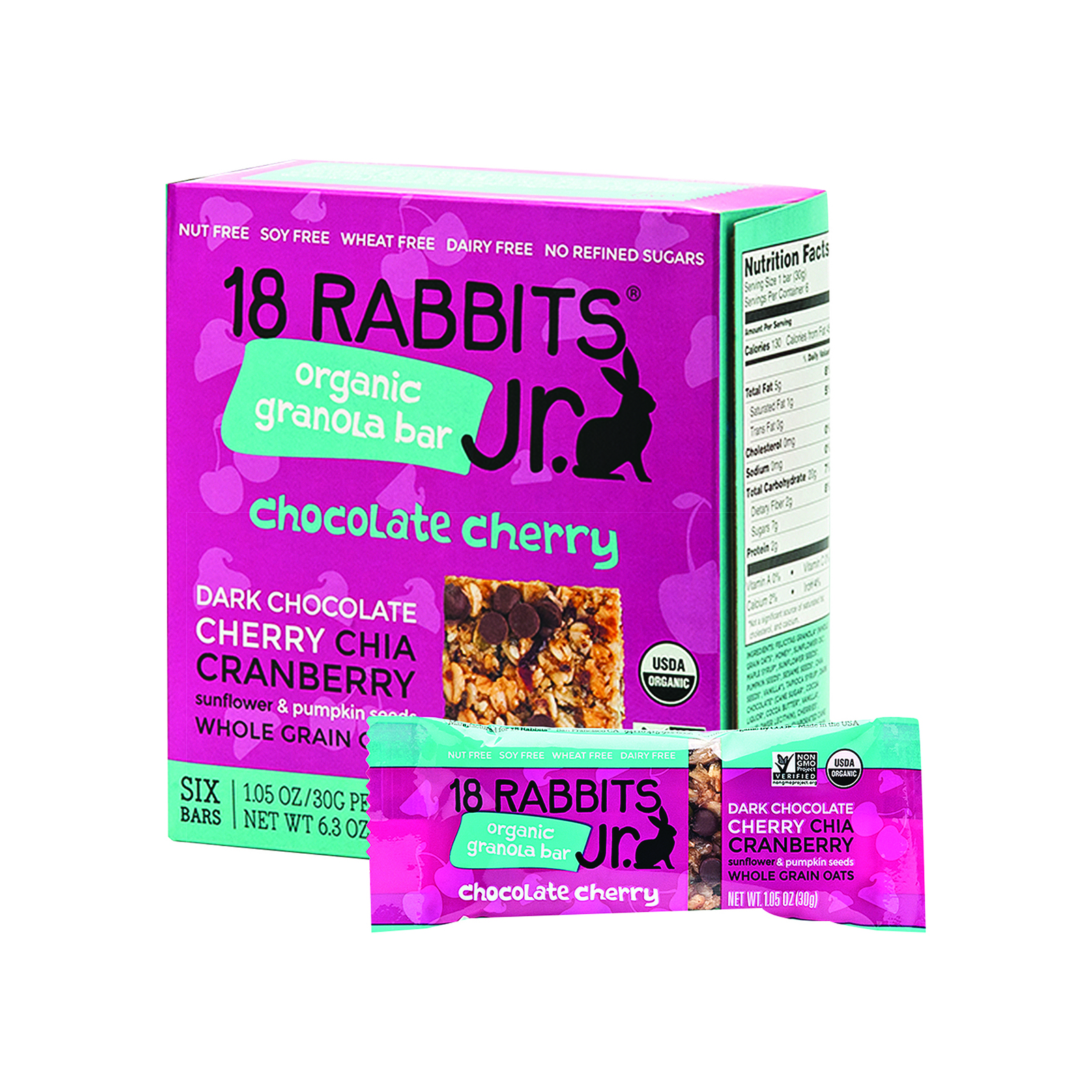 18 Rabbits Jr. Granola Bar - Chocolate Cherry - Case of 6 - 1.05 oz.