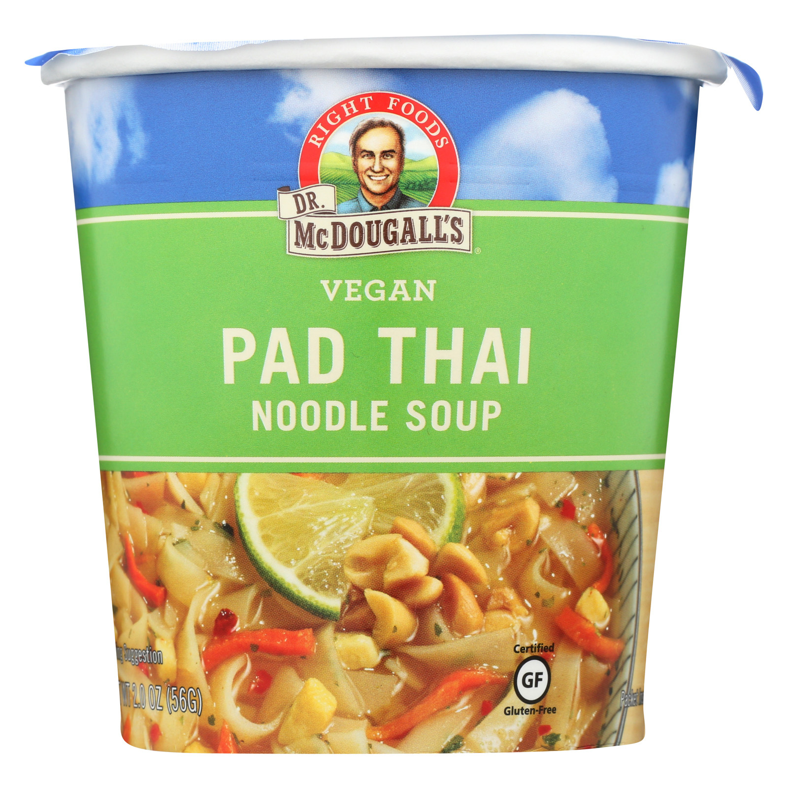 Dr. McDougall's Vegan Pad Thai Noodle Soup Big Cup - Case of 6 - 2 oz.