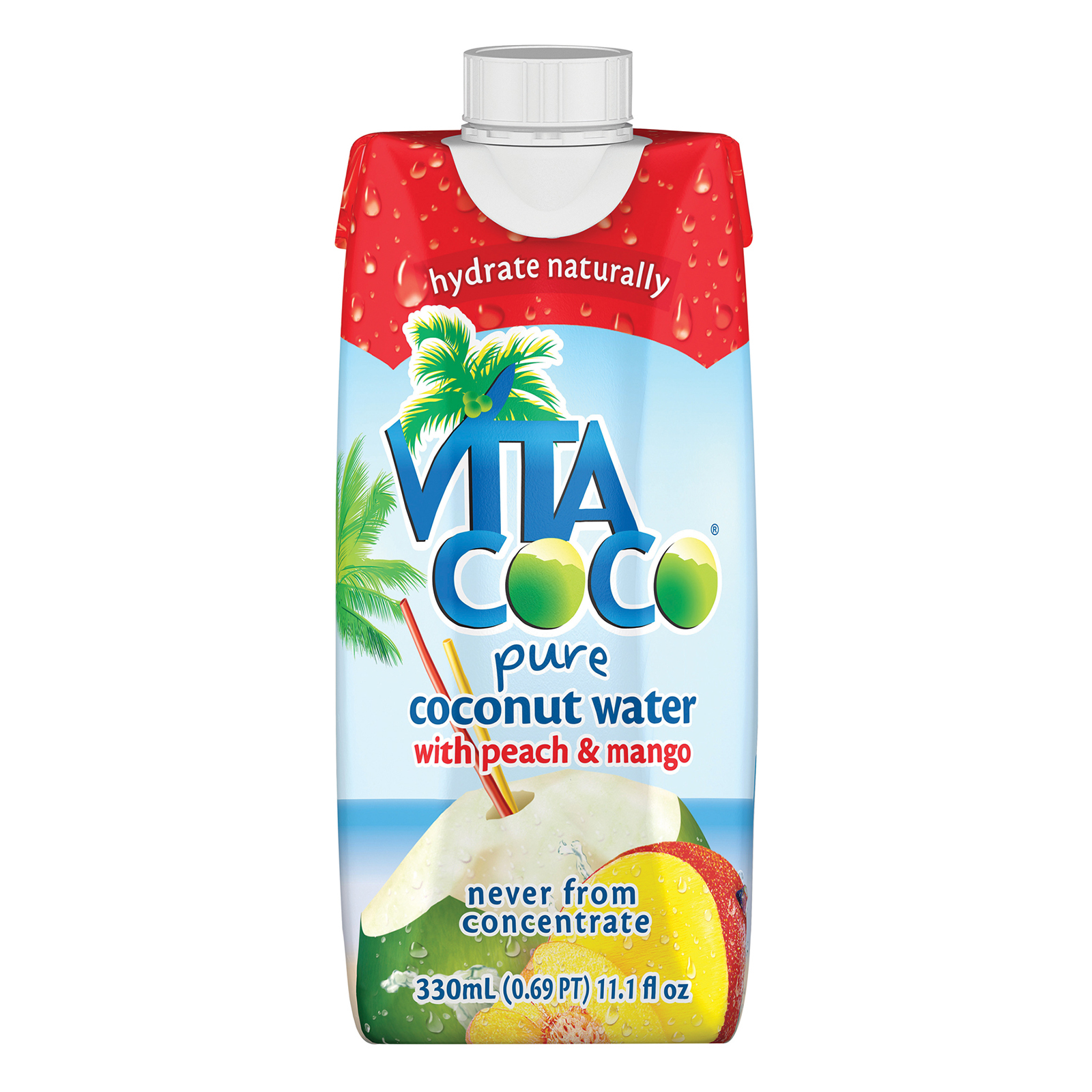 Vita Coco Coconut Water - Peach and Mango - Case of 12 - 330 ml