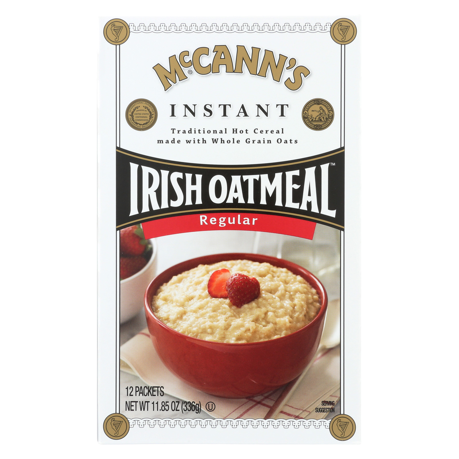 McCann's Irish Oatmeal Instant Oatmeal, Regular - Case of 12 - 11.85 oz.