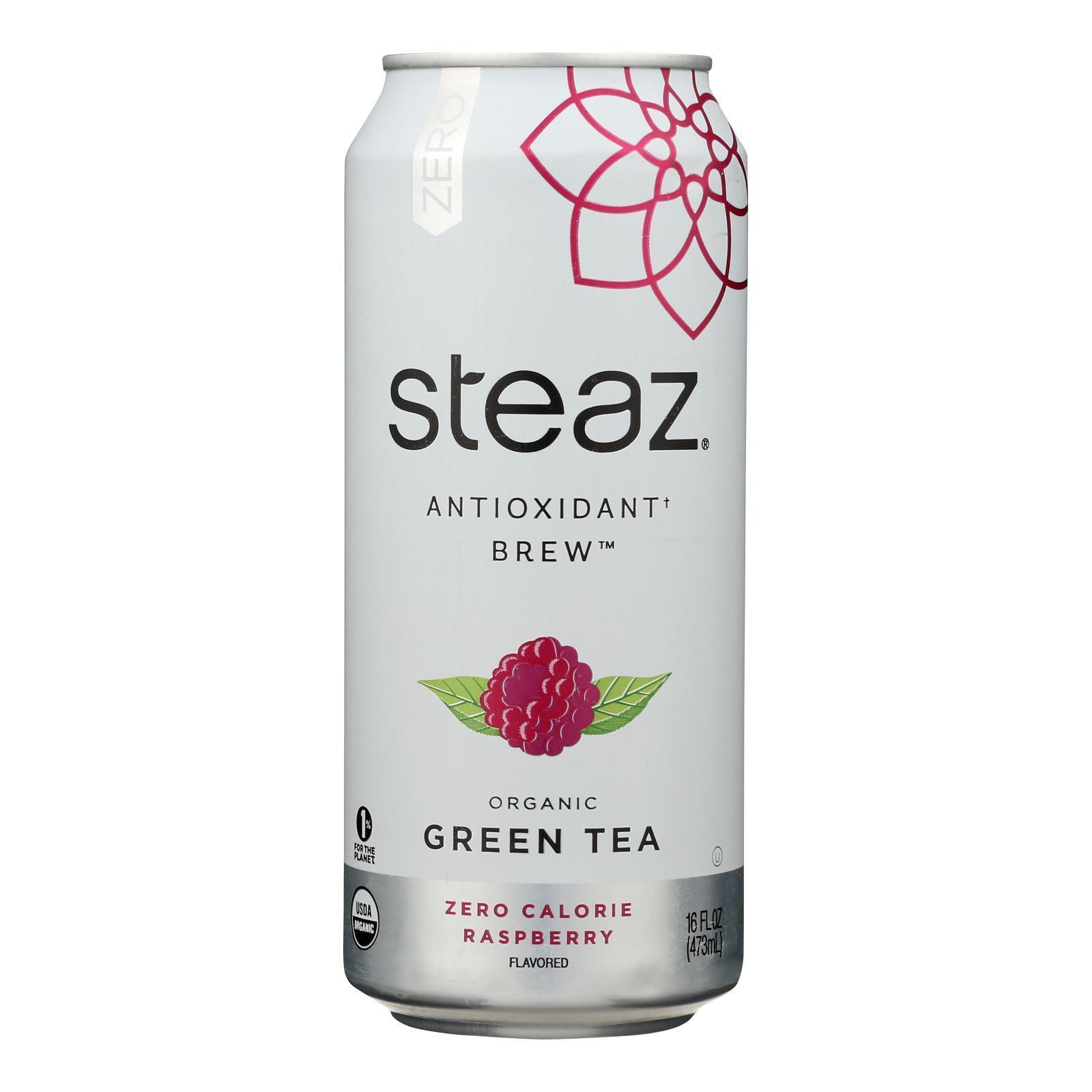 Steaz Zero Calorie Green Tea - Raspberry - Case of 12 - 16 Fl oz.