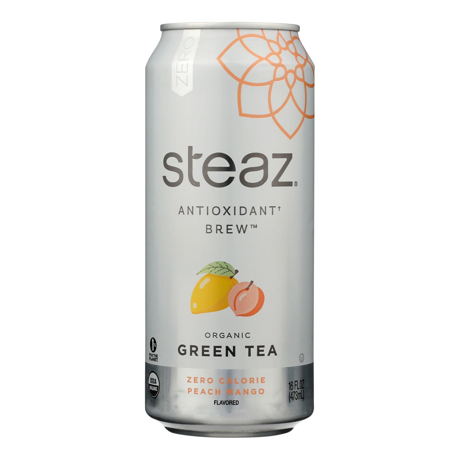 Steaz Zero Calorie Green Tea - Peach Mango - Case of 12 - 16 Fl oz.