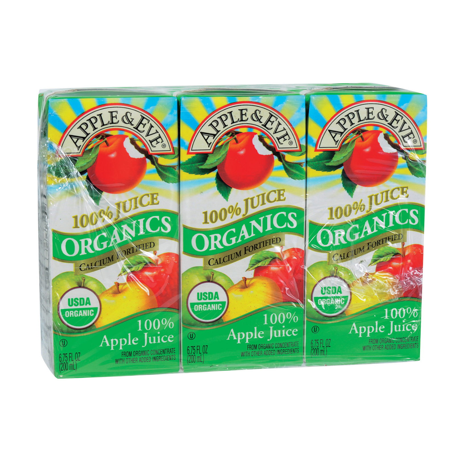 Apple and Eve Organics 100 Percent Juice - Apple Juice - Case of 9 - 200 ml