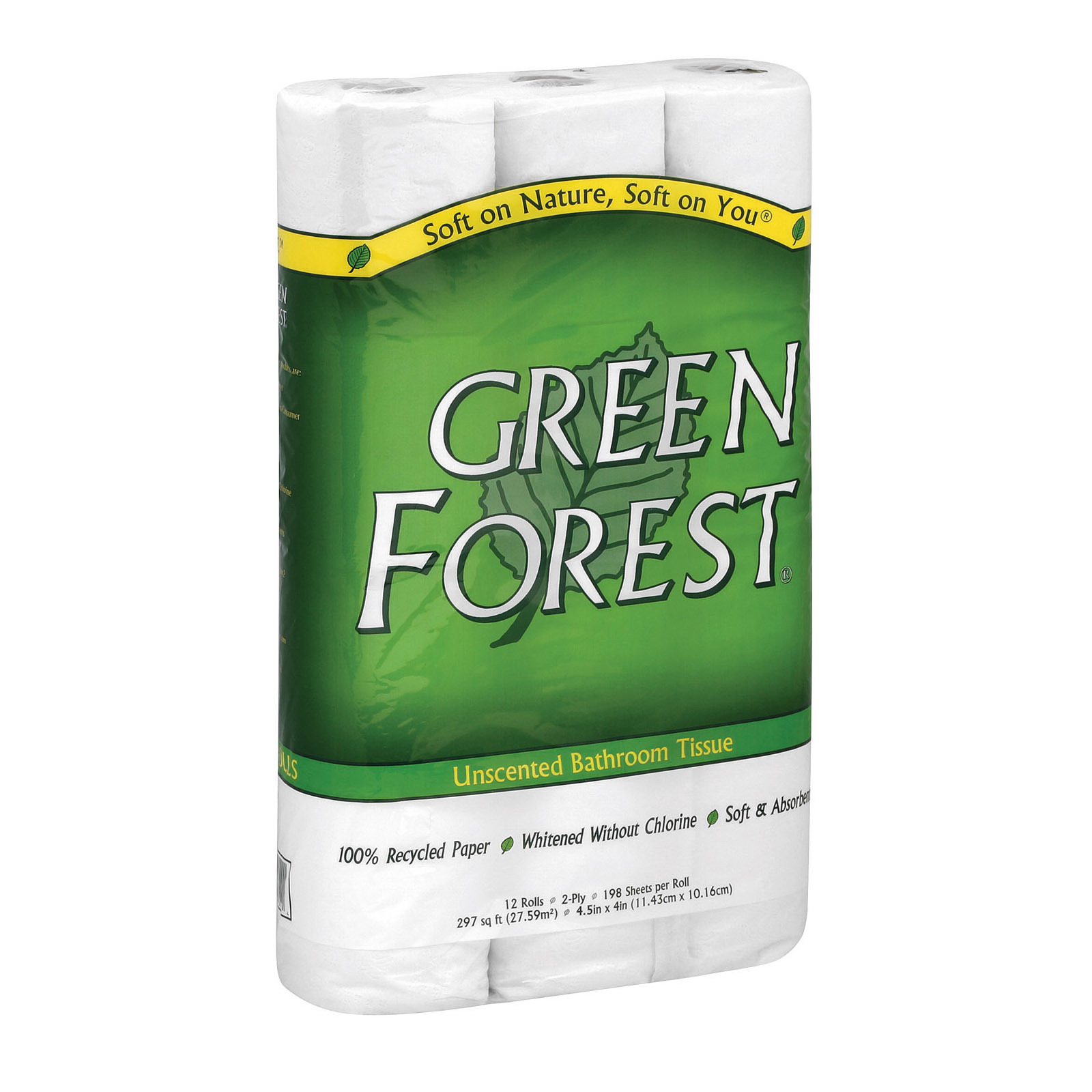 Green Forest Premium Bathroom Tissue - Unscented 2 Ply - Case of 8 - 12