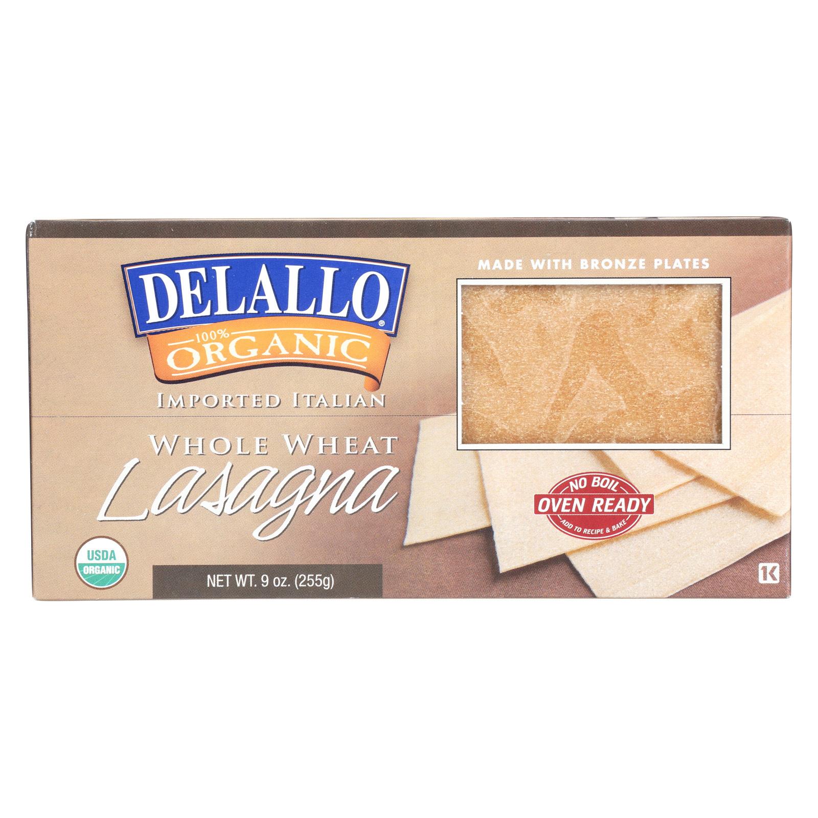 Delallo Organic Whole Wheat Lasagna Pasta - Case of 12 - 9 oz.
