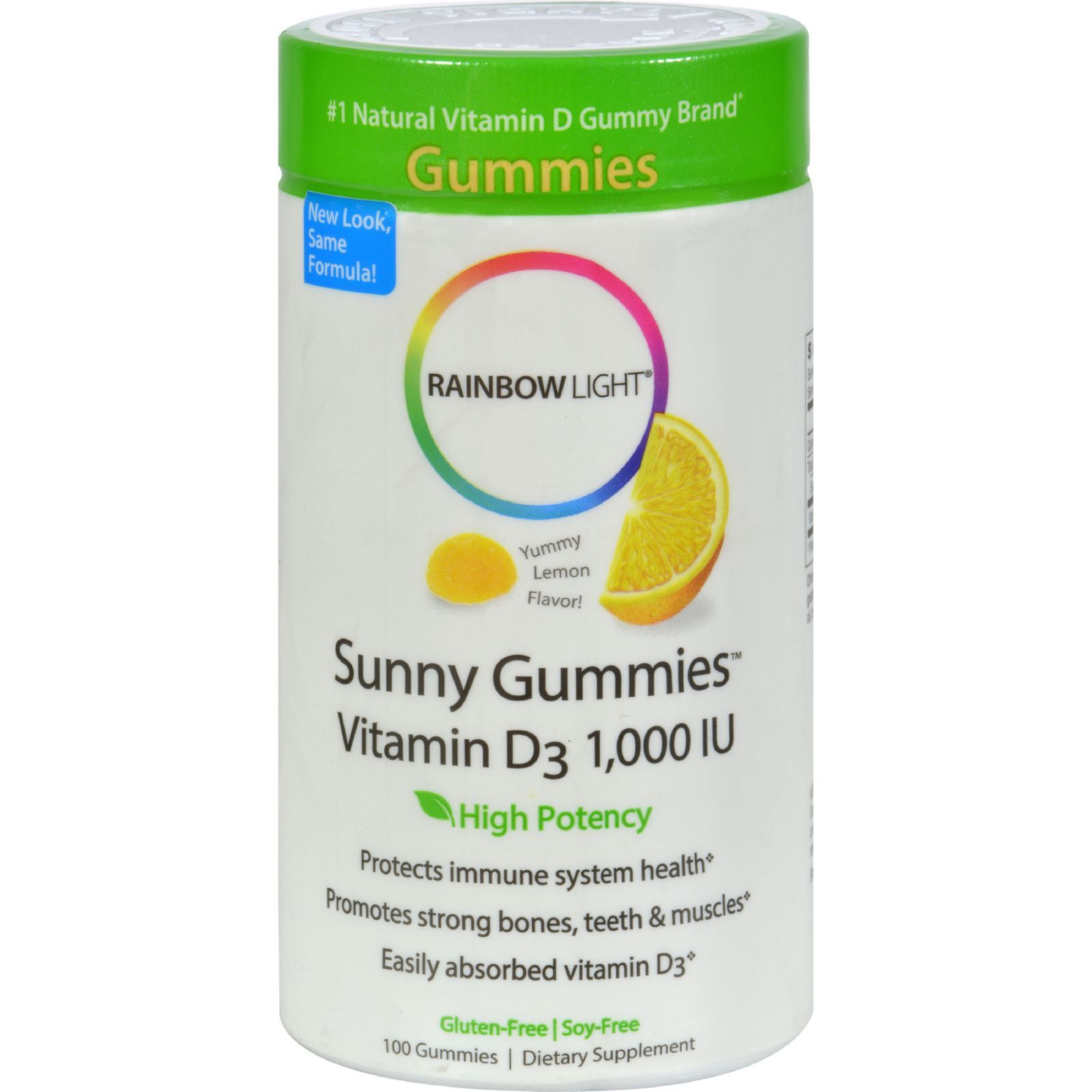 Rainbow Light Vitamin D Sunny Gummies Sour Lemon - 1000 IU - 100 Gummies