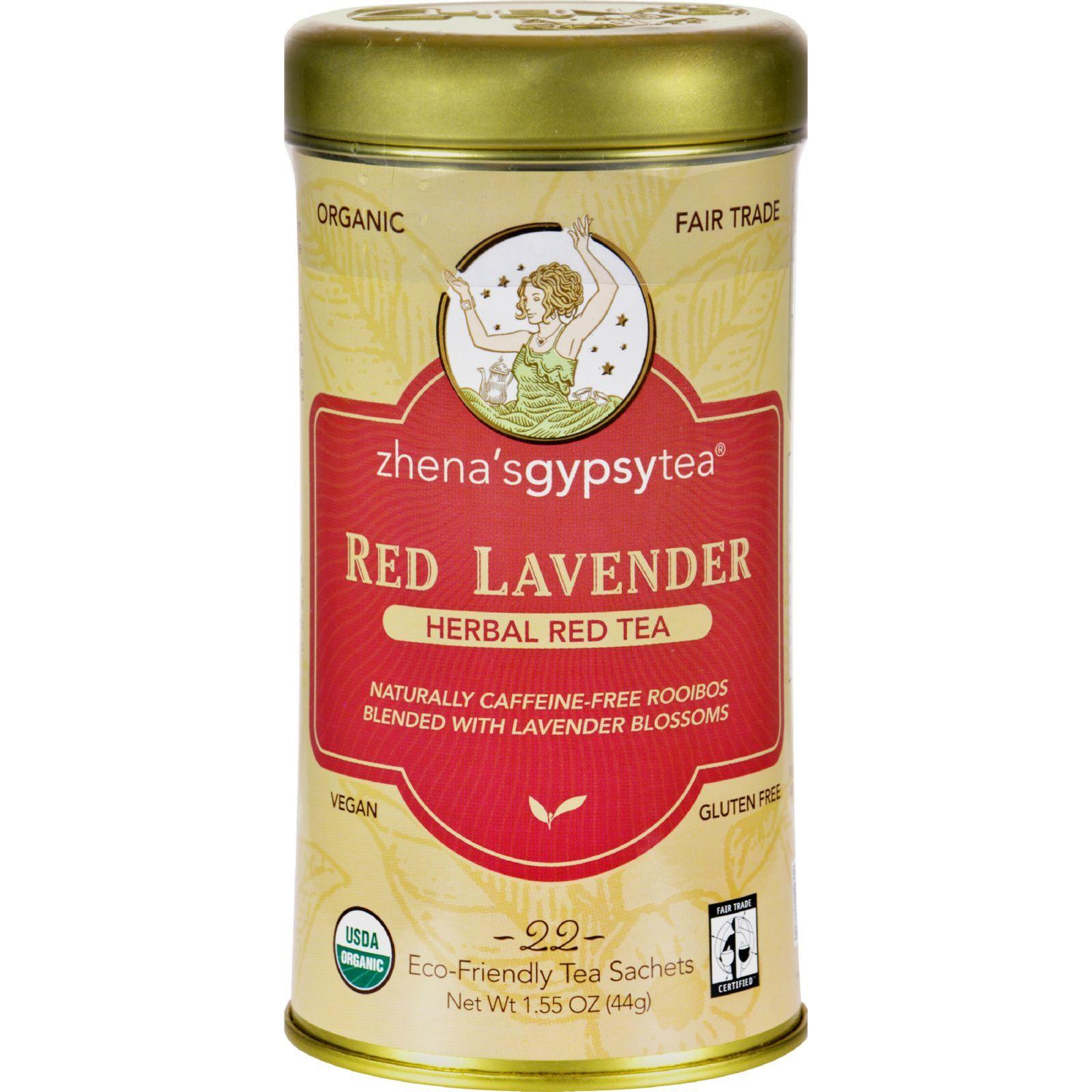 Zhena's Gypsy Tea Red Lavender Herbal Tea - Caffeine Free - Case of 6 - 22 Bags
