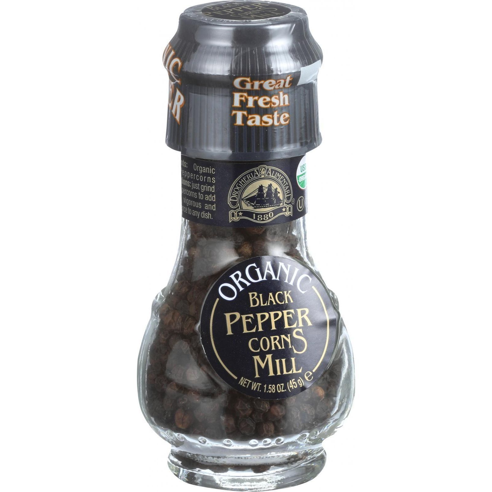 Drogheria and Alimentari Spice Mill - Organic Black Peppercorns - 1.6 oz - Case of 6