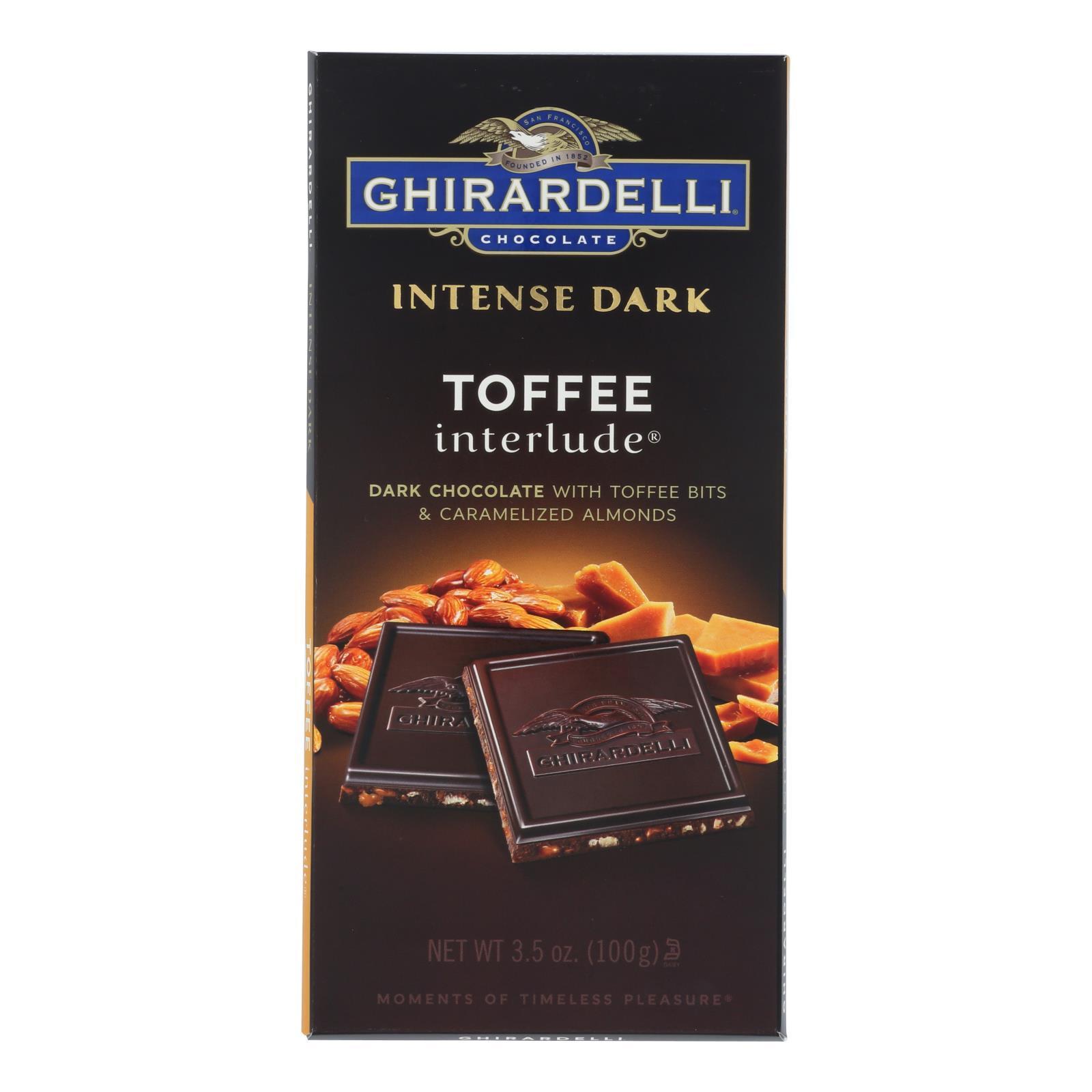 Ghirardelli Intense Dark Chocolate Toffee Interlude Bar - Case of 12 - 3.5 oz.