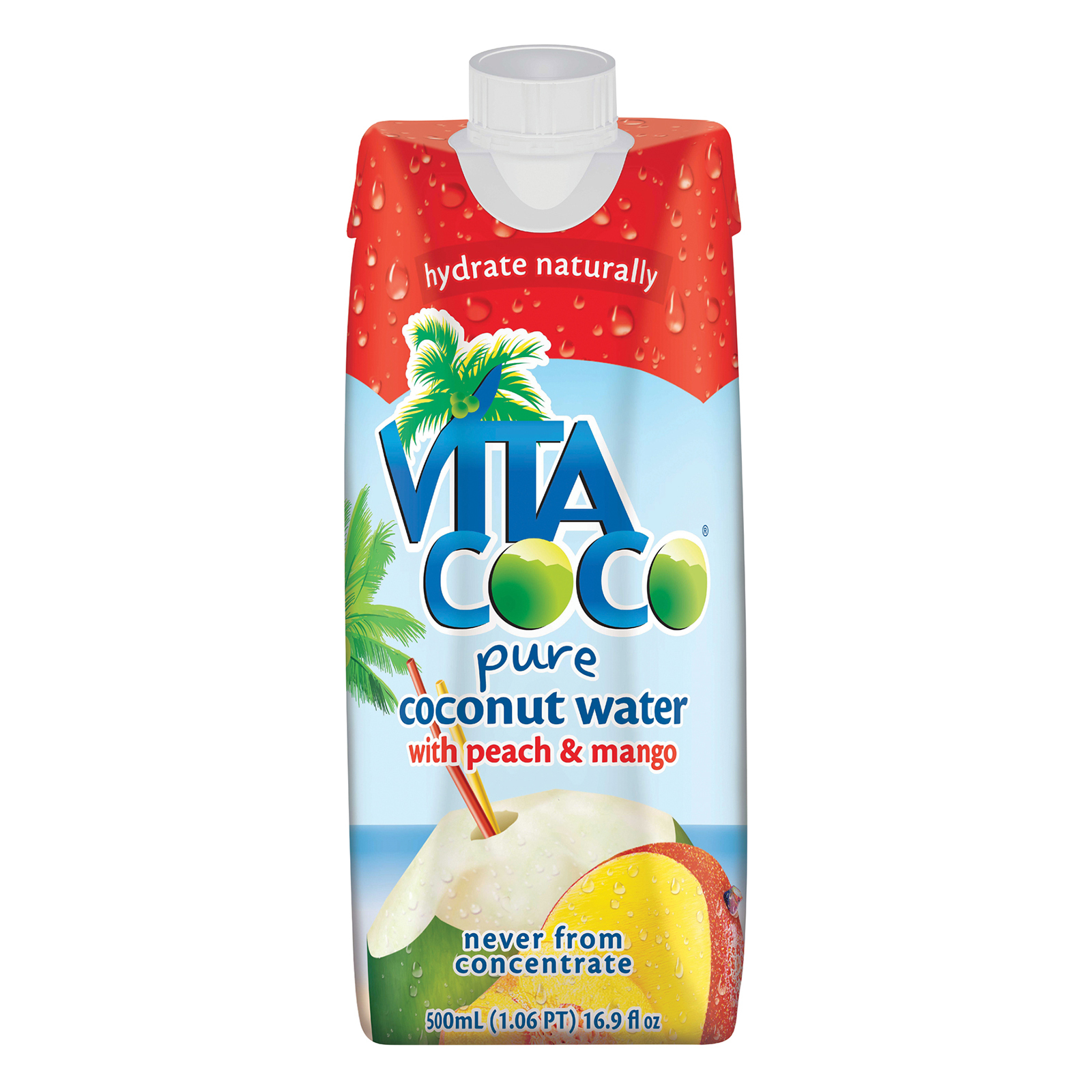 Vita Coco Coconut Water - Peach and Mango - Case of 12 - 500 ml