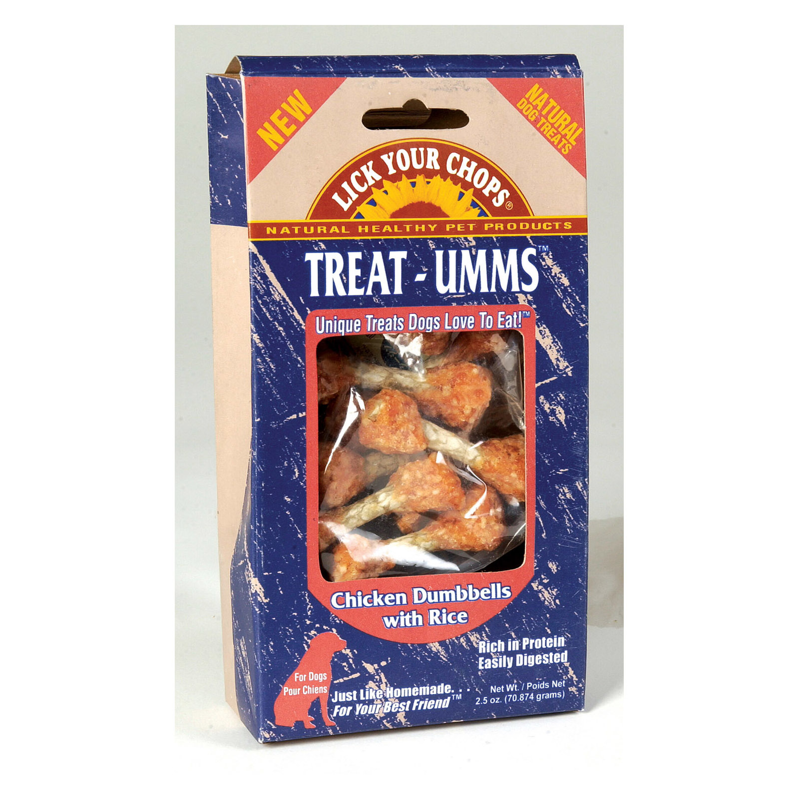 Lick Your Chops Treat - Umms Dog Treats - Chicken Dumbell - Case of 6 - 2.5 oz.