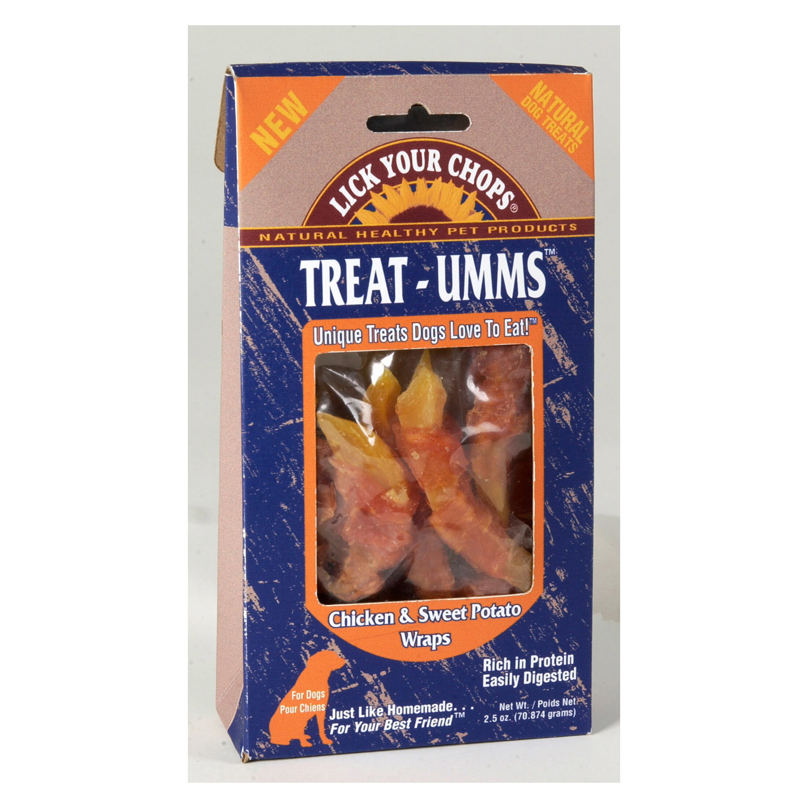 Lick Your Chops Treat - Umms Dog Treats - Chicken and Sweet Potato - Case of 6 - 2.5 oz.