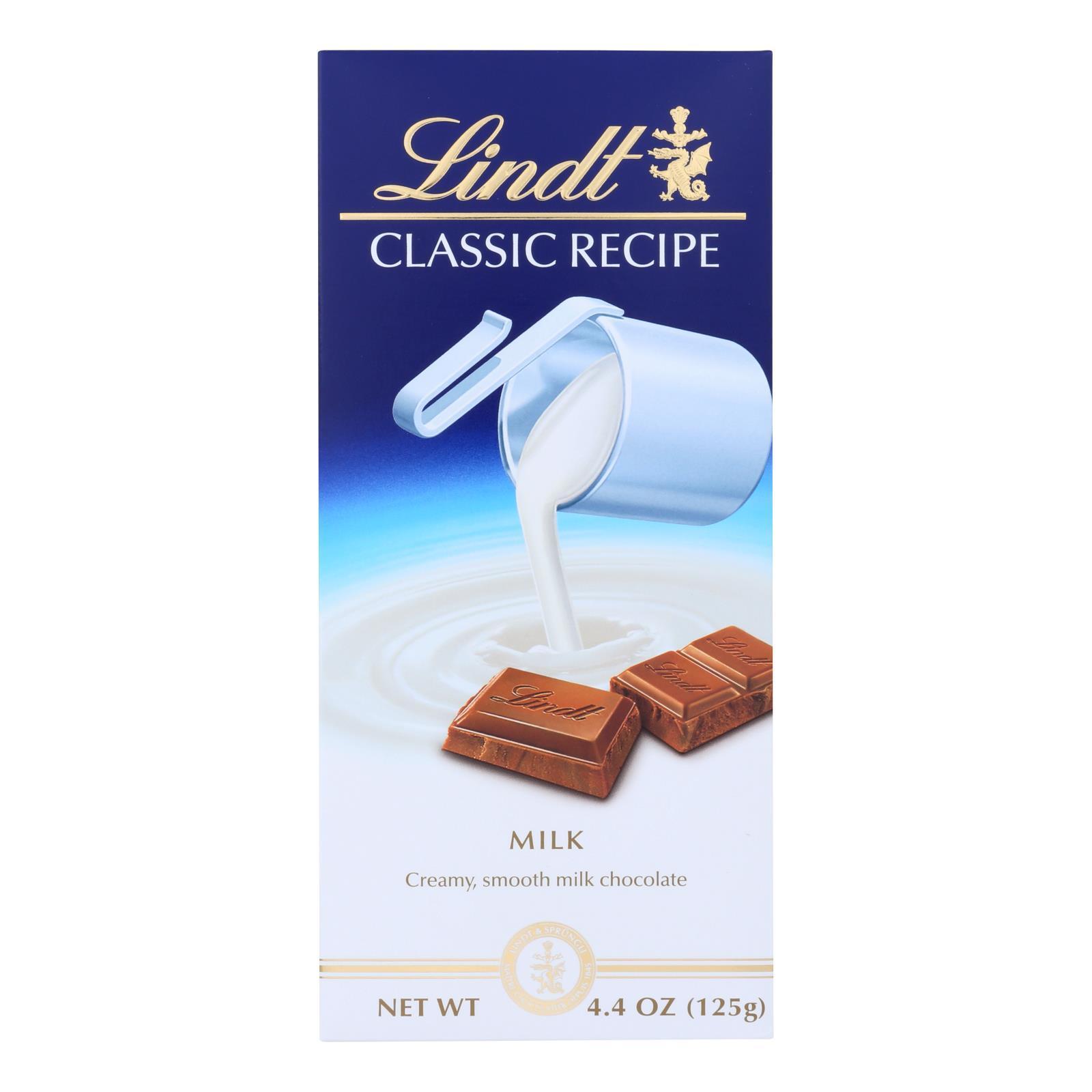 Lindt Chocolate Bar - Milk Chocolate - 31 Percent Cocoa - Classic Recipe - 4.4 oz Bars - Case of 12