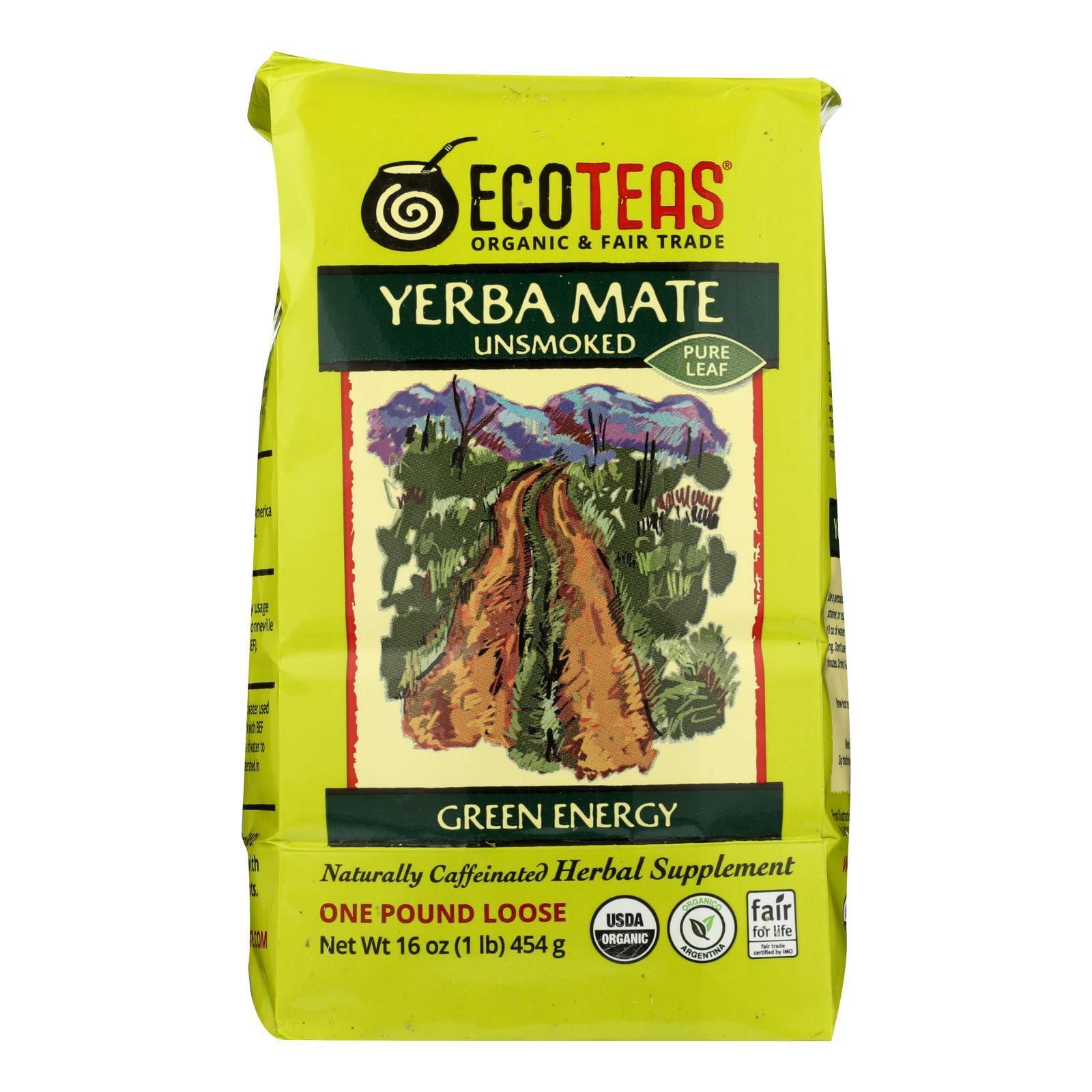 Ecoteas Organic Yerba Mate Unsmoked Green Energy Loose Tea - Case of 6 - 1 lb.