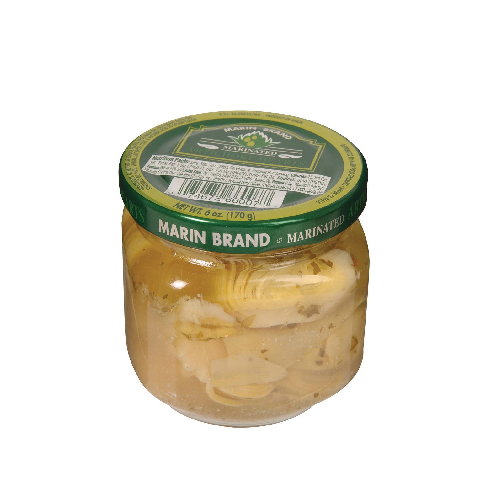 Marin Food Specialties Marinated Artichoke Hearts - Case of 12 - 6 oz.