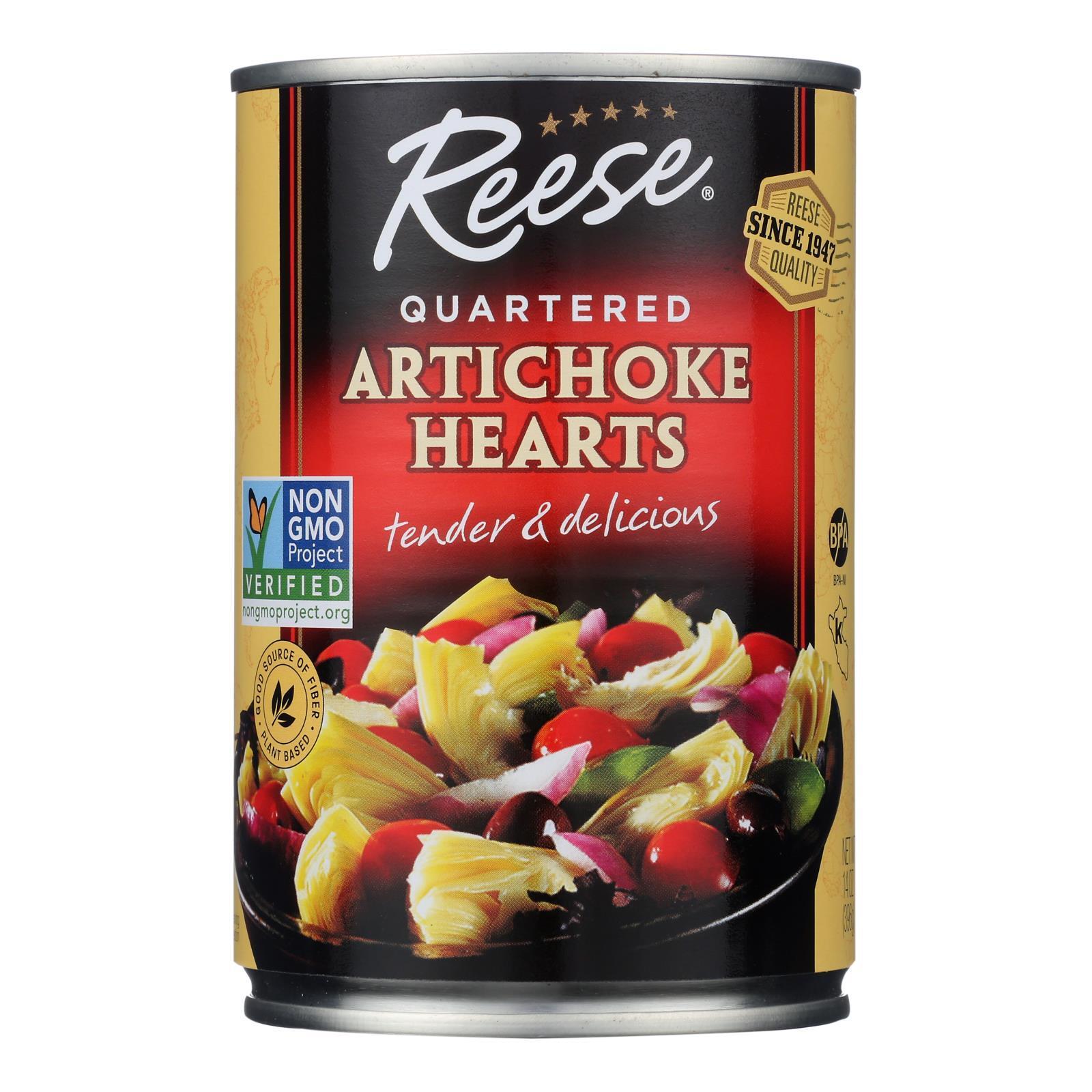 Reese Artichoke Hearts - Quartered - Case of 12 - 14 oz.