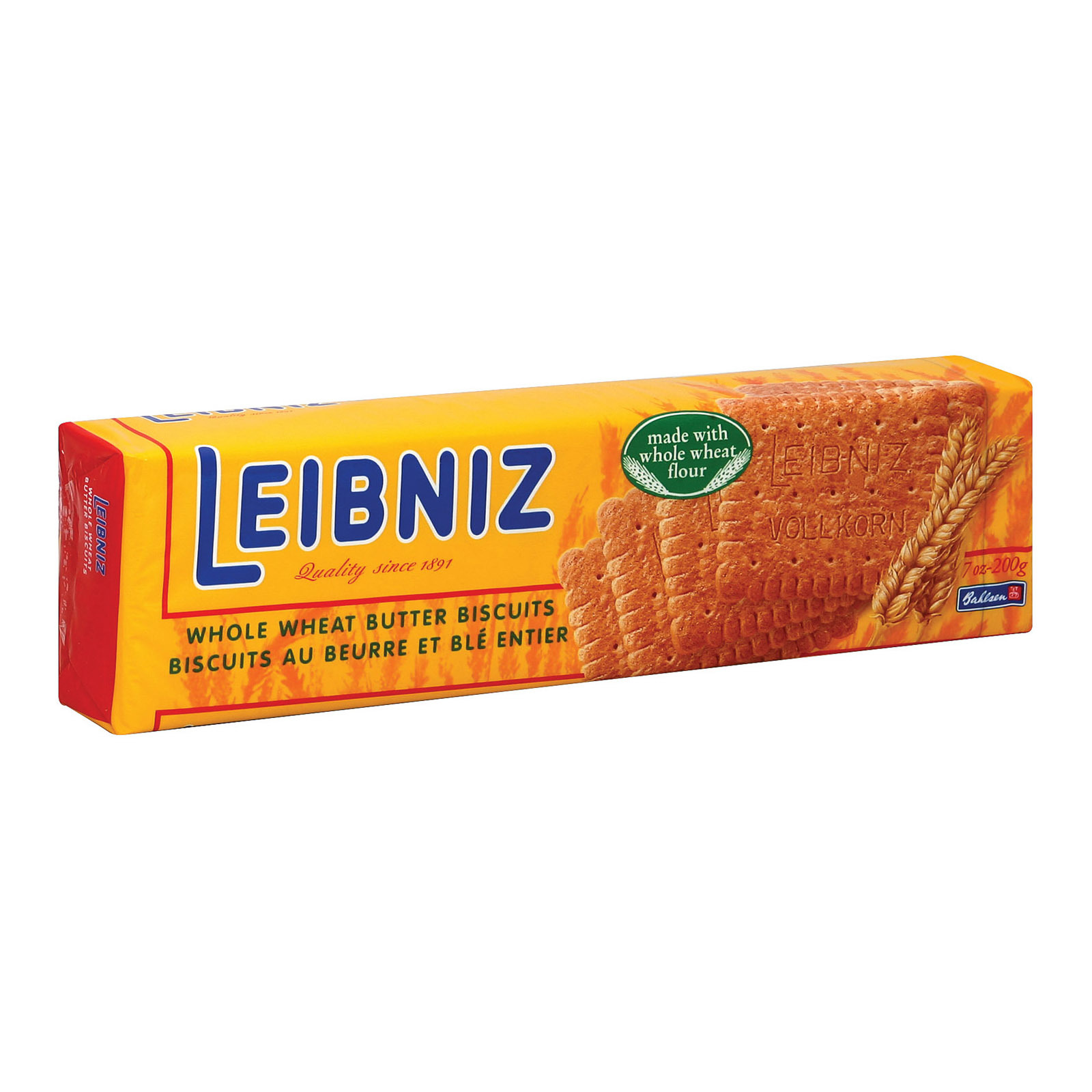Bahlsen Leibniz Whole Wheat Butter Biscuits - Case of 18 - 7 oz.