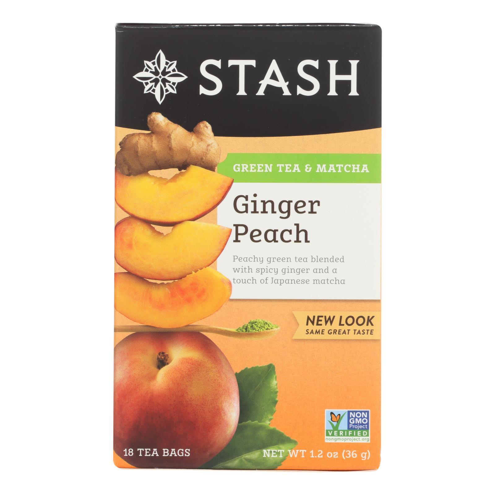 Stash Tea Ginger Peach Green W/ Matcha - 18 Tea Bags - Case of 6
