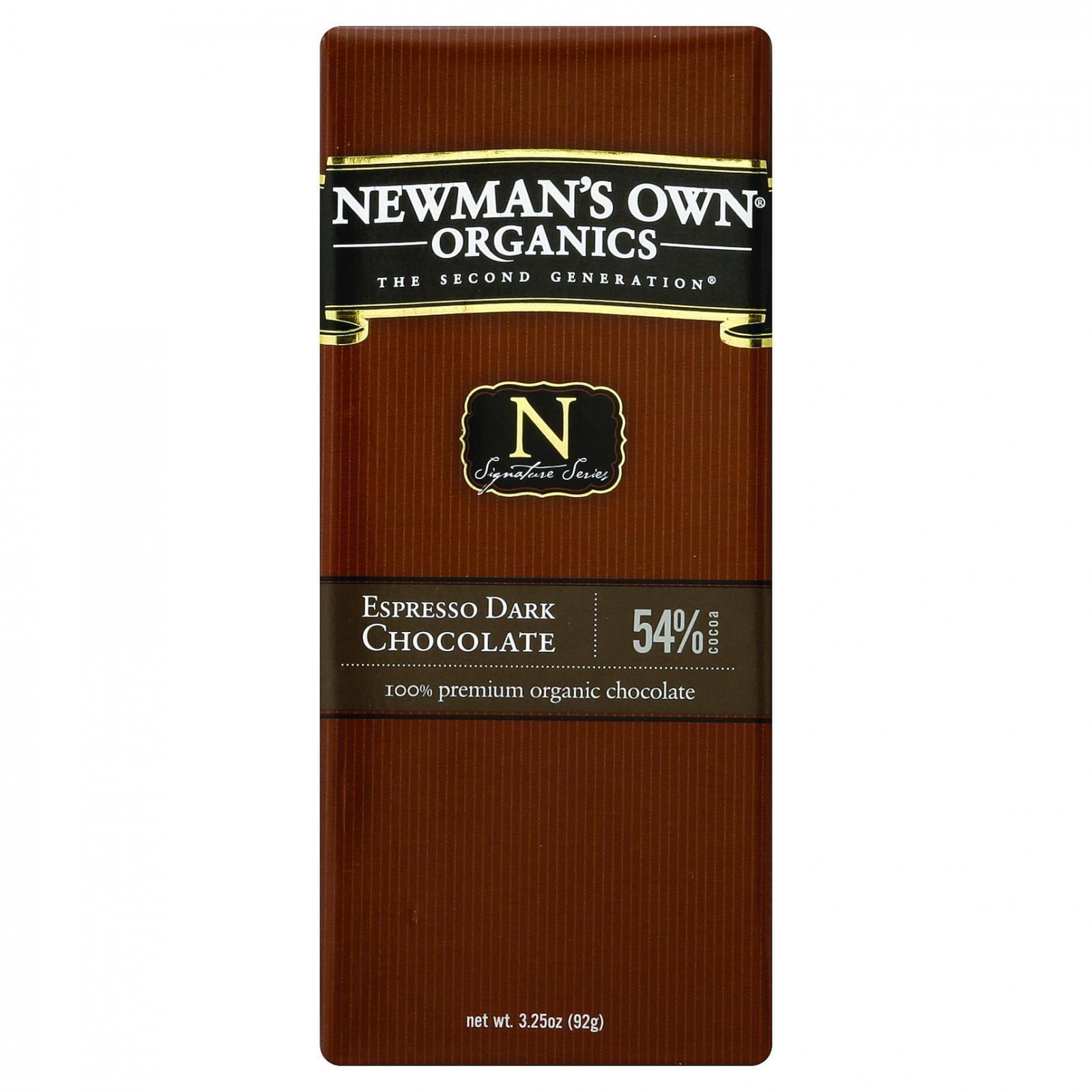 Newman's Own Organics Chocolate Bar - Organic - Dark Chocolate - Espresso - 3.25 oz Bars - Case of 12
