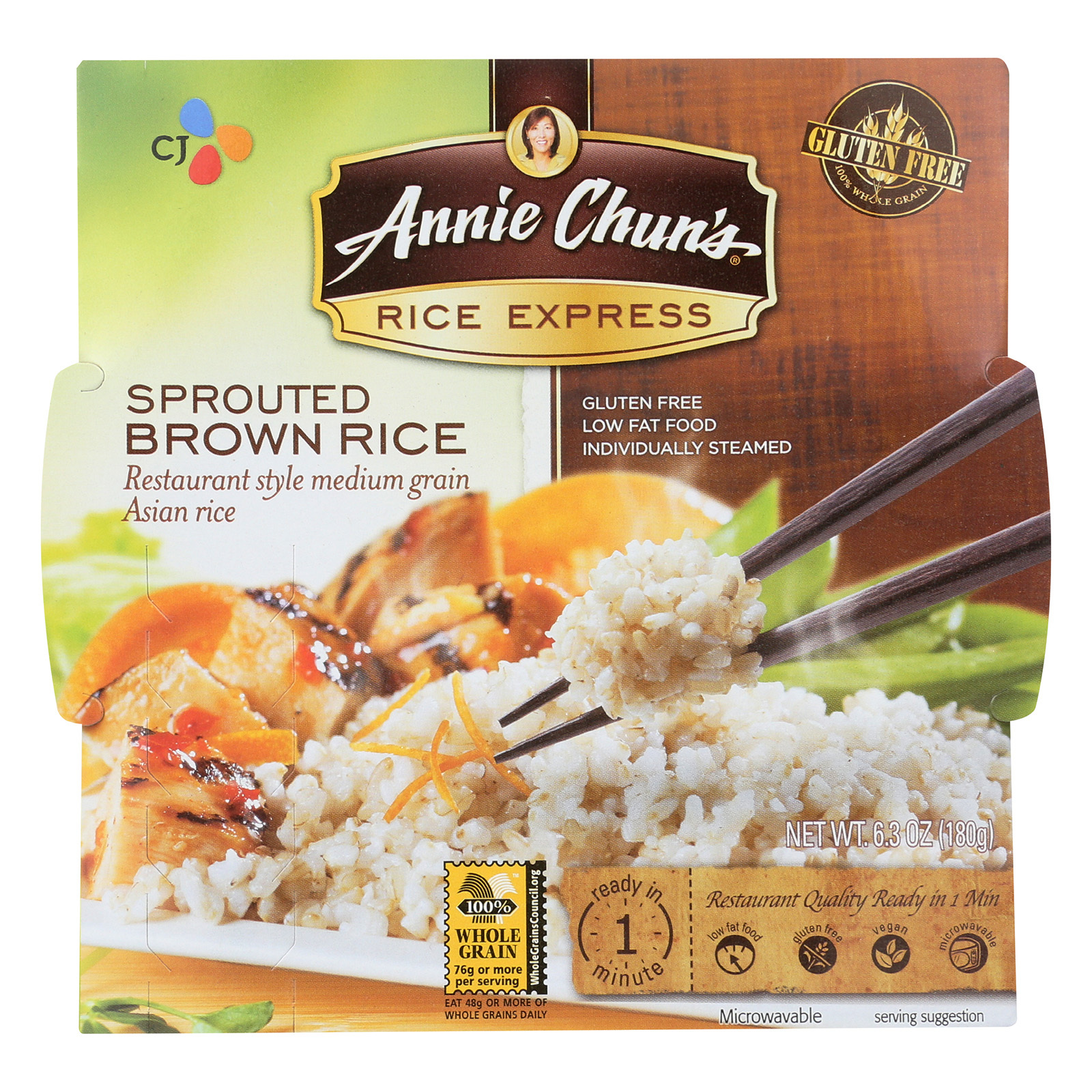 Annie Chun's Rice Express Sprouted Brown Sticky Rice - Case of 6 - 6.3 oz.