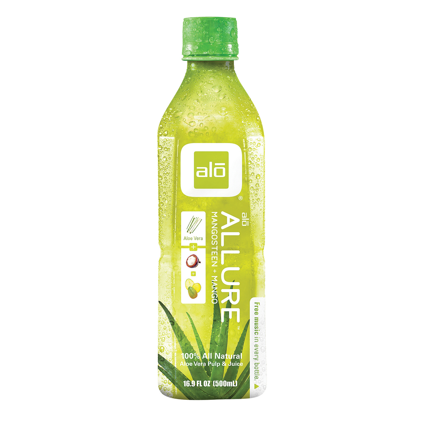 Alo Original Allure Aloe Vera Juice Drink - Mangosteen and Mango - Case of 12 - 16.9 fl oz.