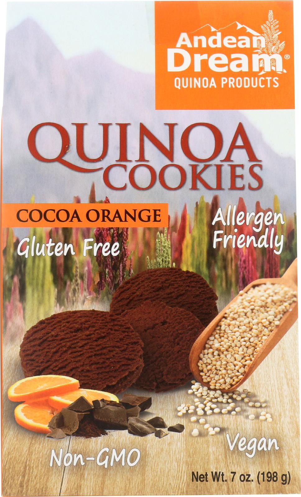 Andean Dream Gluten Free Quinoa Cookies Cocoa Orange - Case of 6 - 7 oz.